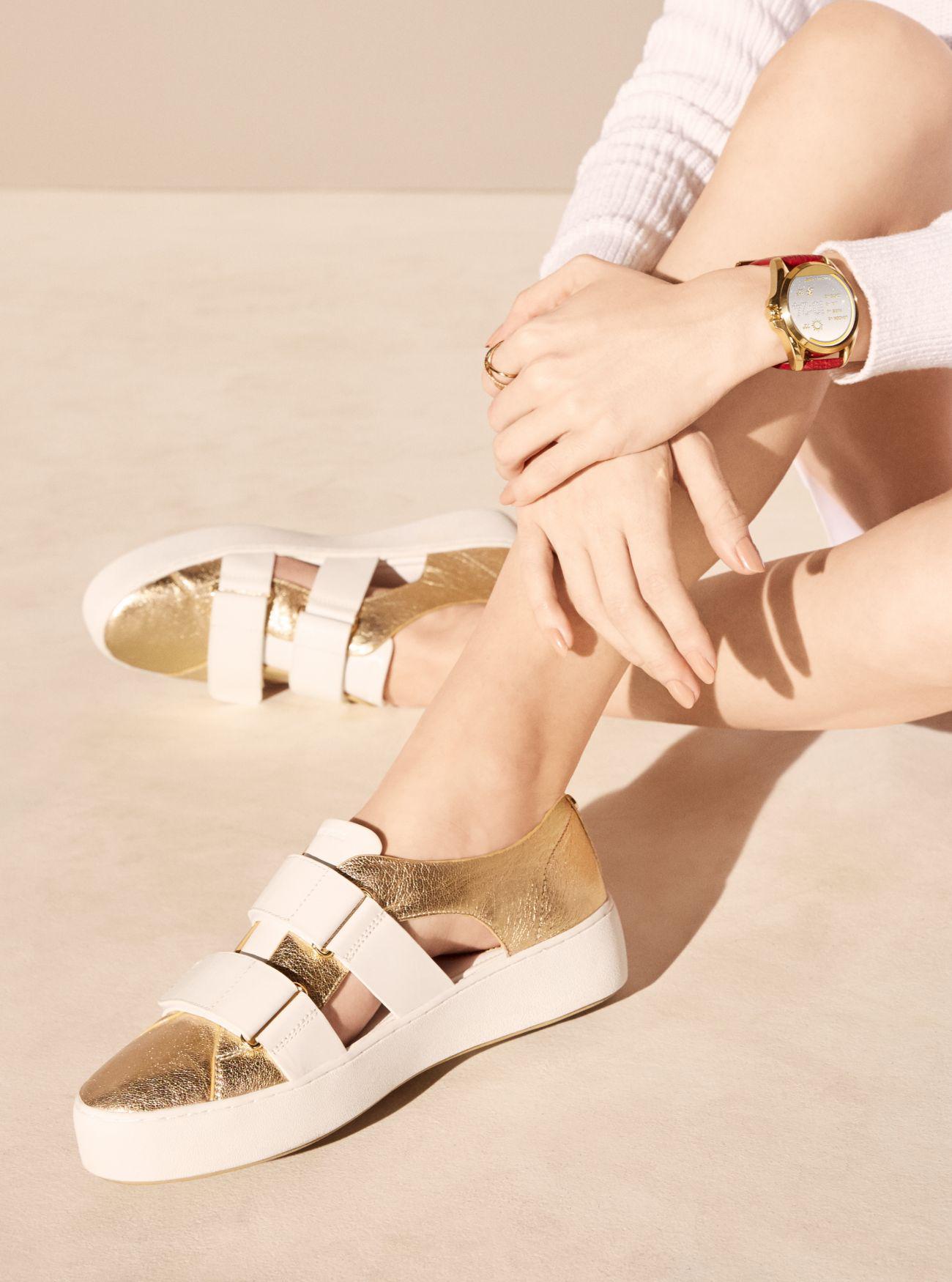 Lyst - Michael Kors Beckett Leather Sneaker in White 4f68efb41