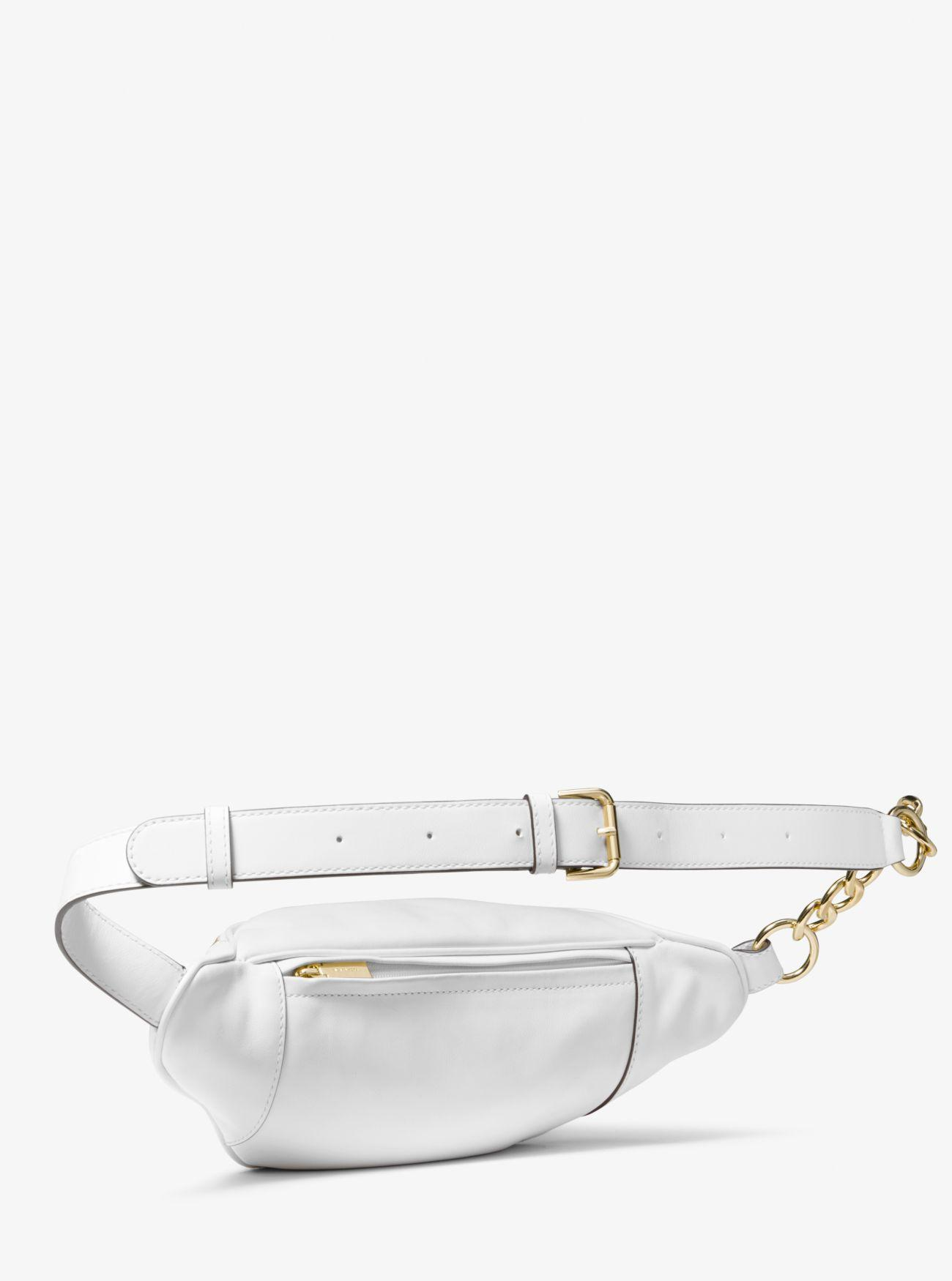 37cb36423fb0 Michael Kors - White Medium Embellished Leather Belt Bag - Lyst. View  fullscreen