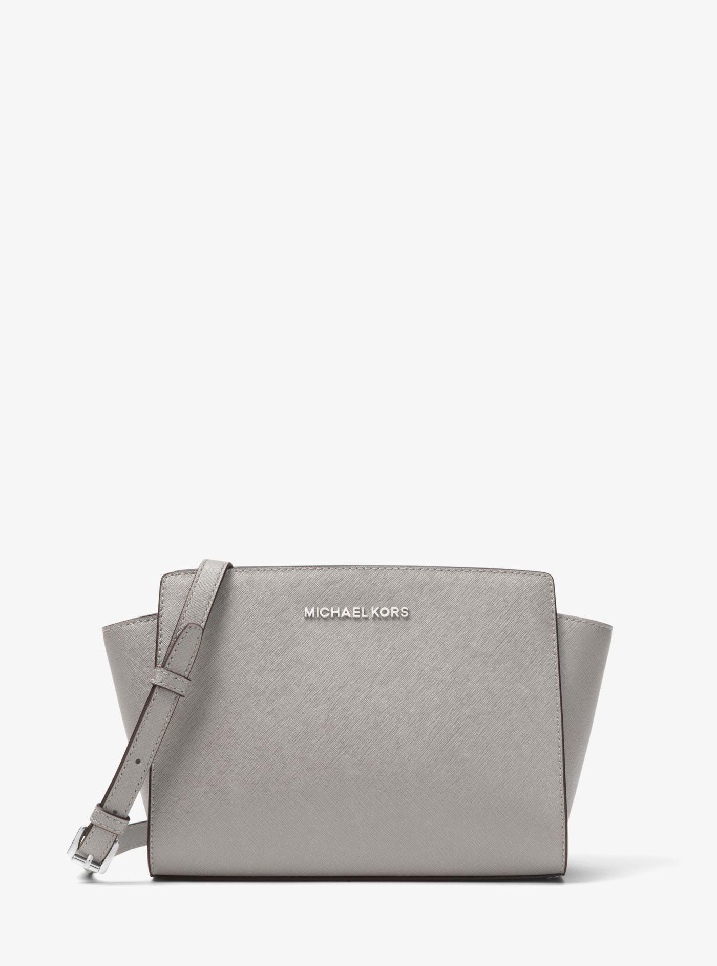 ... clearance michael kors gray selma medium metallic leather crossbody lyst.  view fullscreen 92878 2ae88 8efd96fedb4b0