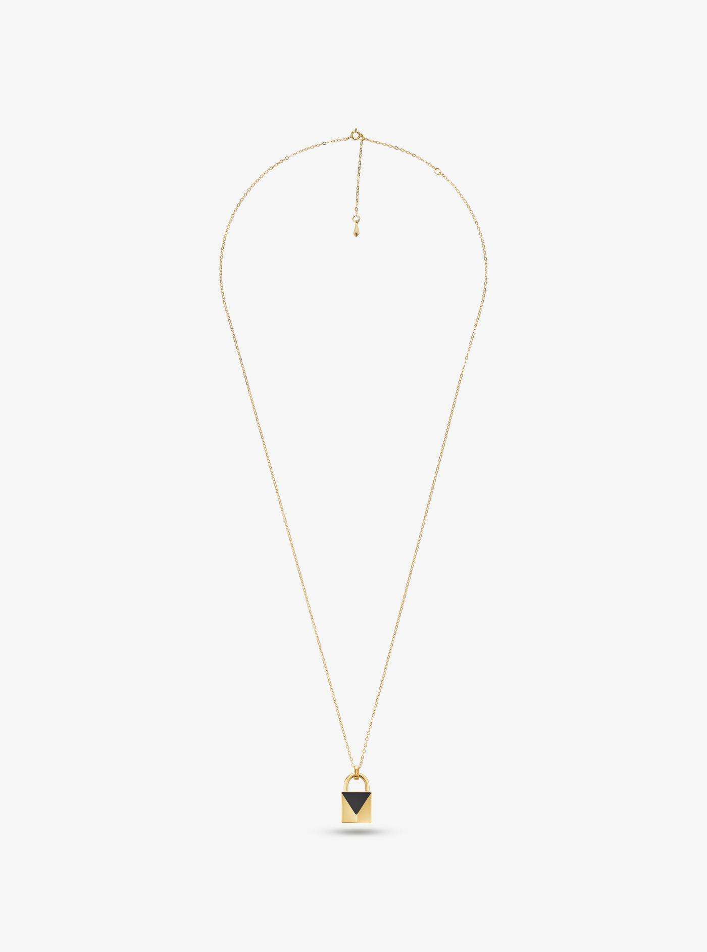 6bec1ebfdbd6 Michael Kors - Metallic 14k Gold-plated Sterling Silver Onyx Large Lock  Necklace - Lyst. View fullscreen