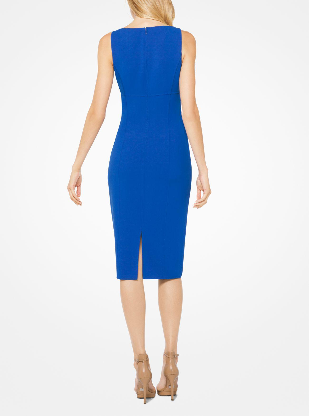 d1c07a522be00 Lyst - Michael Kors Stretch Wool-crepe Sheath Dress in Blue