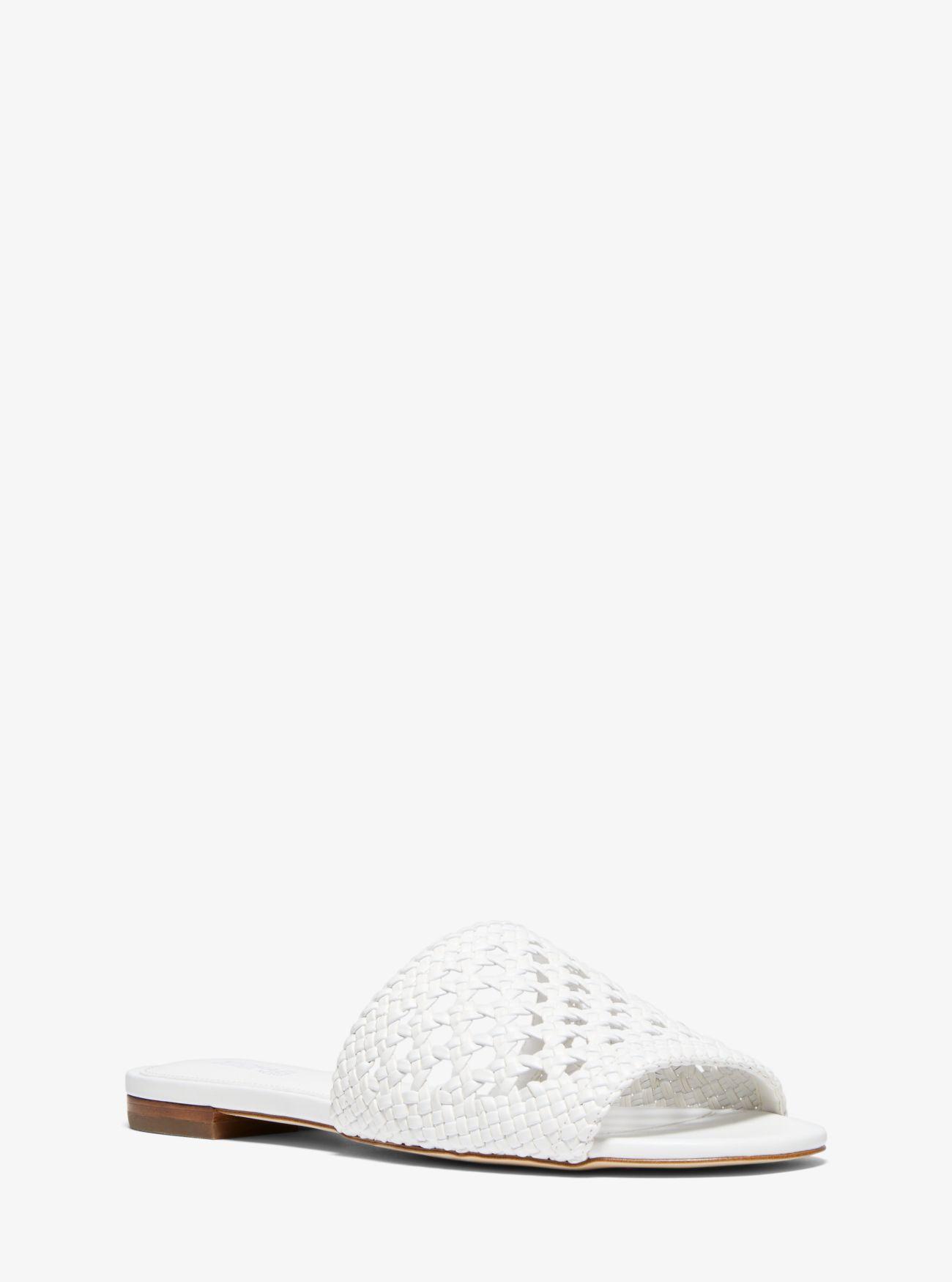af968fd22e6e Lyst - MICHAEL Michael Kors Augustine Woven Slide Sandal in White