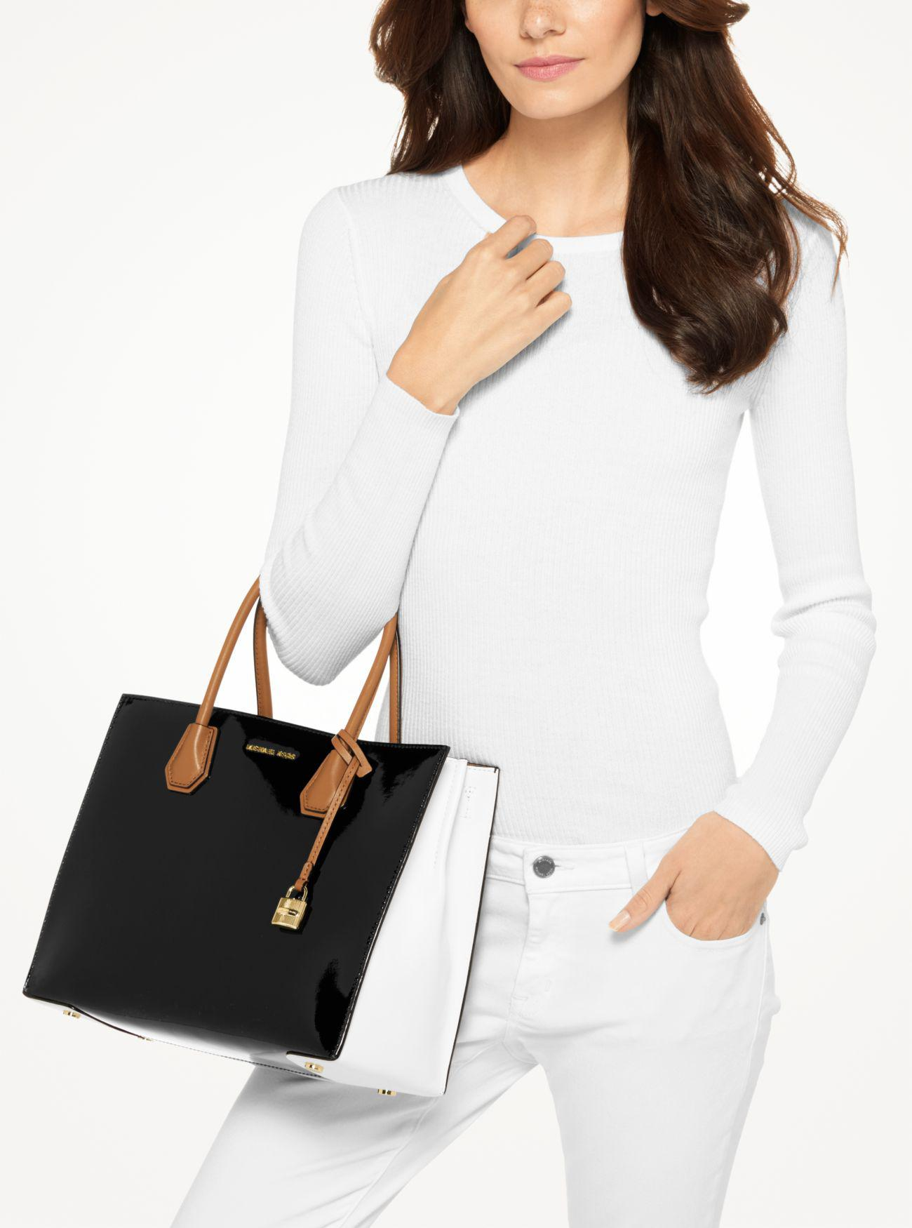 d7610ffb04a90c Michael Kors Mercer Large Color-block Patent Leather Tote in Black ...
