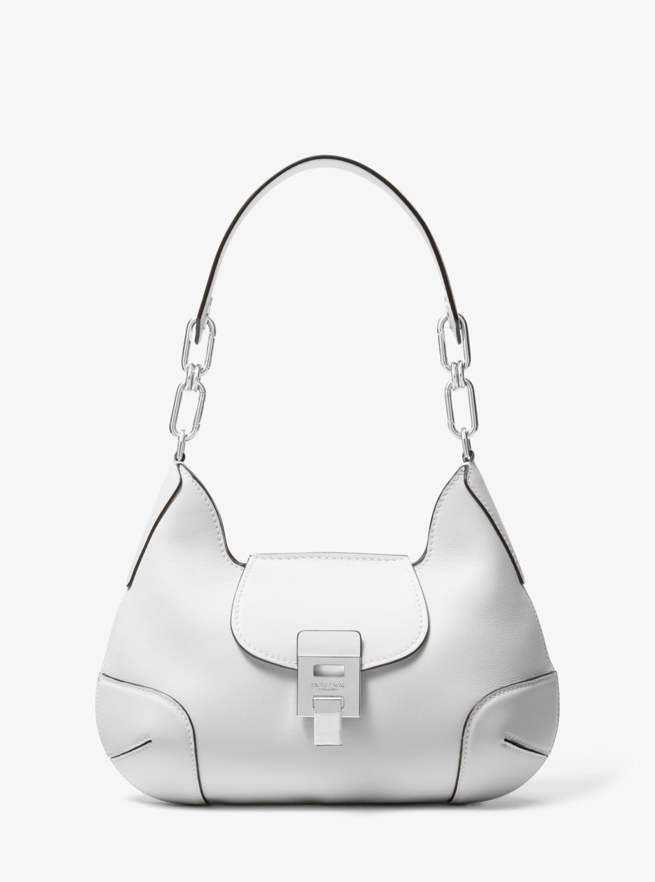 f1febc5371ca57 Michael Kors. Women's White Bancroft Medium Calf Leather Shoulder Bag