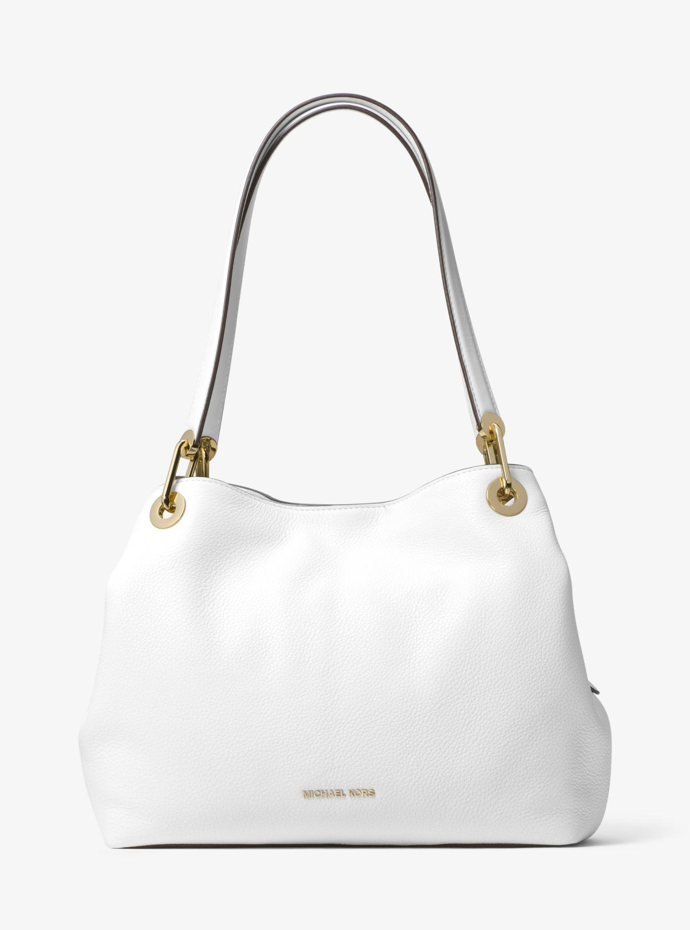 c58da7f8c0ef5 Lyst - Michael Kors Raven Large Leather Shoulder Bag in White