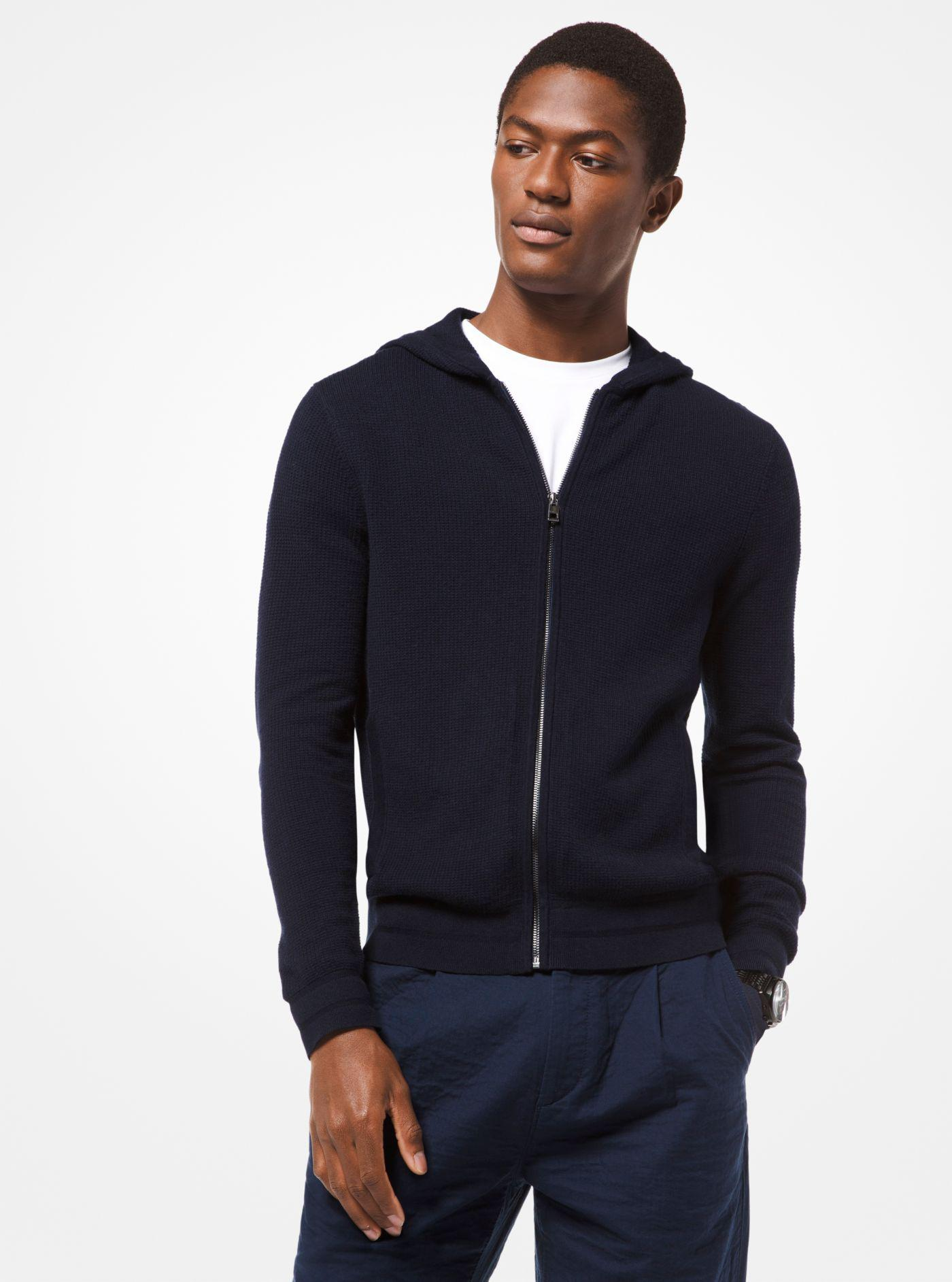 54f0a921bf92e Lyst - Michael Kors Cotton-blend Zip-up Hoodie in Blue for Men
