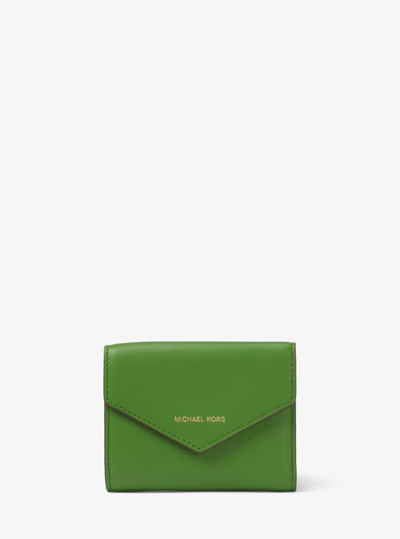 cdb9006184a4 Michael Kors Small Leather Envelope Wallet in Green - Lyst