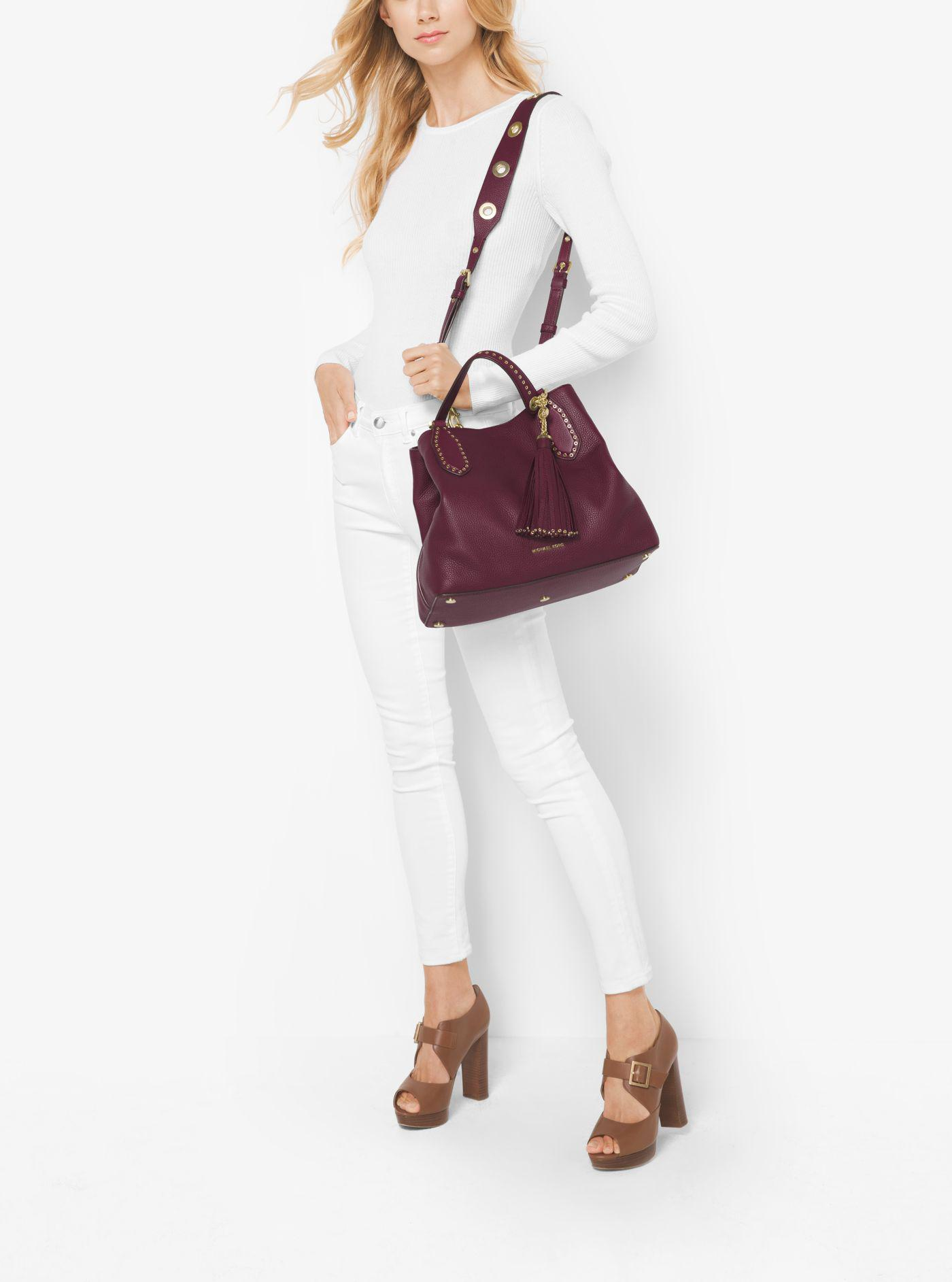 9c6bc64a9100 Michael Kors Brooklyn Large Leather Satchel in Purple - Lyst