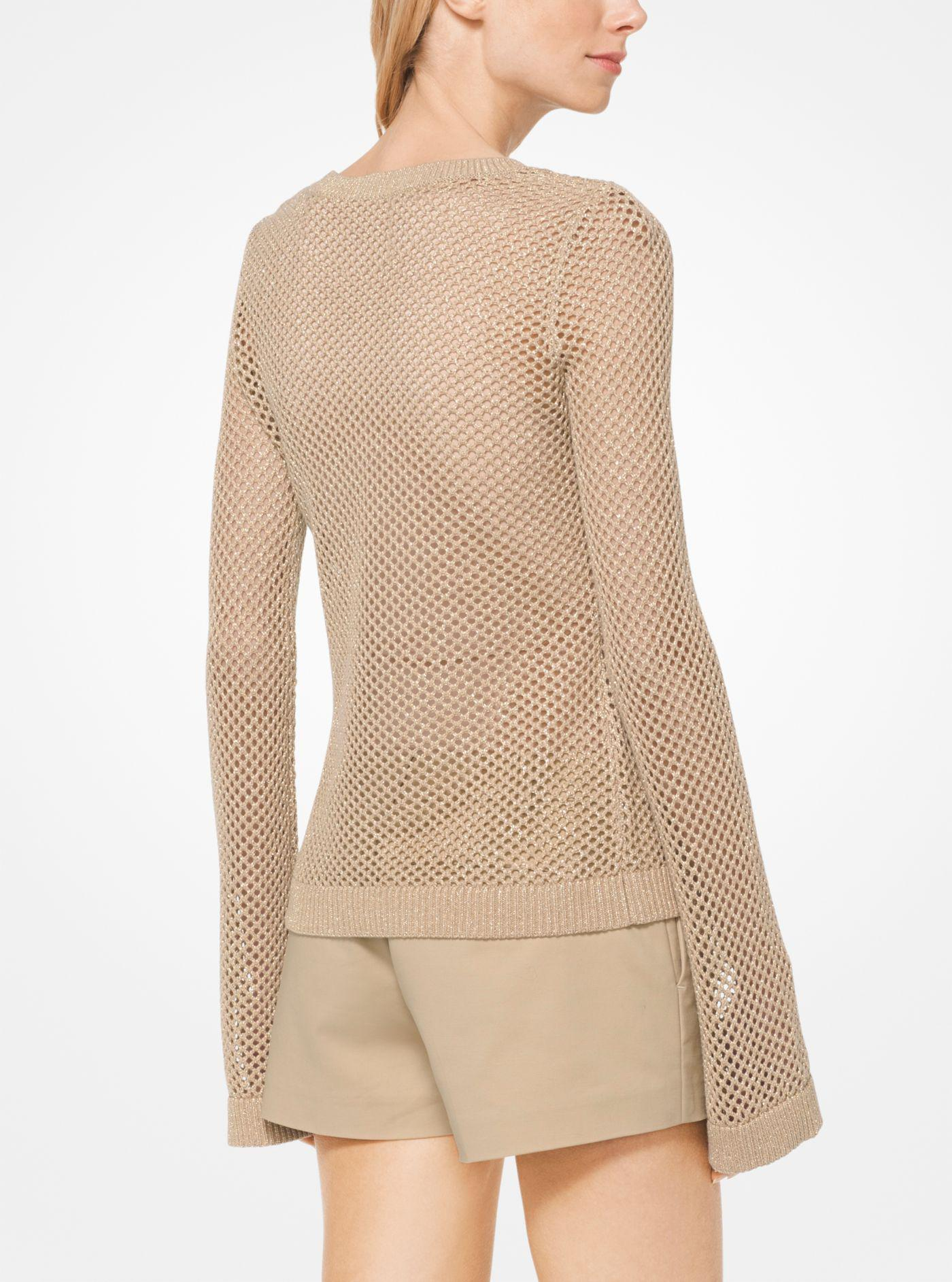 450055821ff8 Lyst - Michael Kors Metallic Open-knit Pullover in Natural