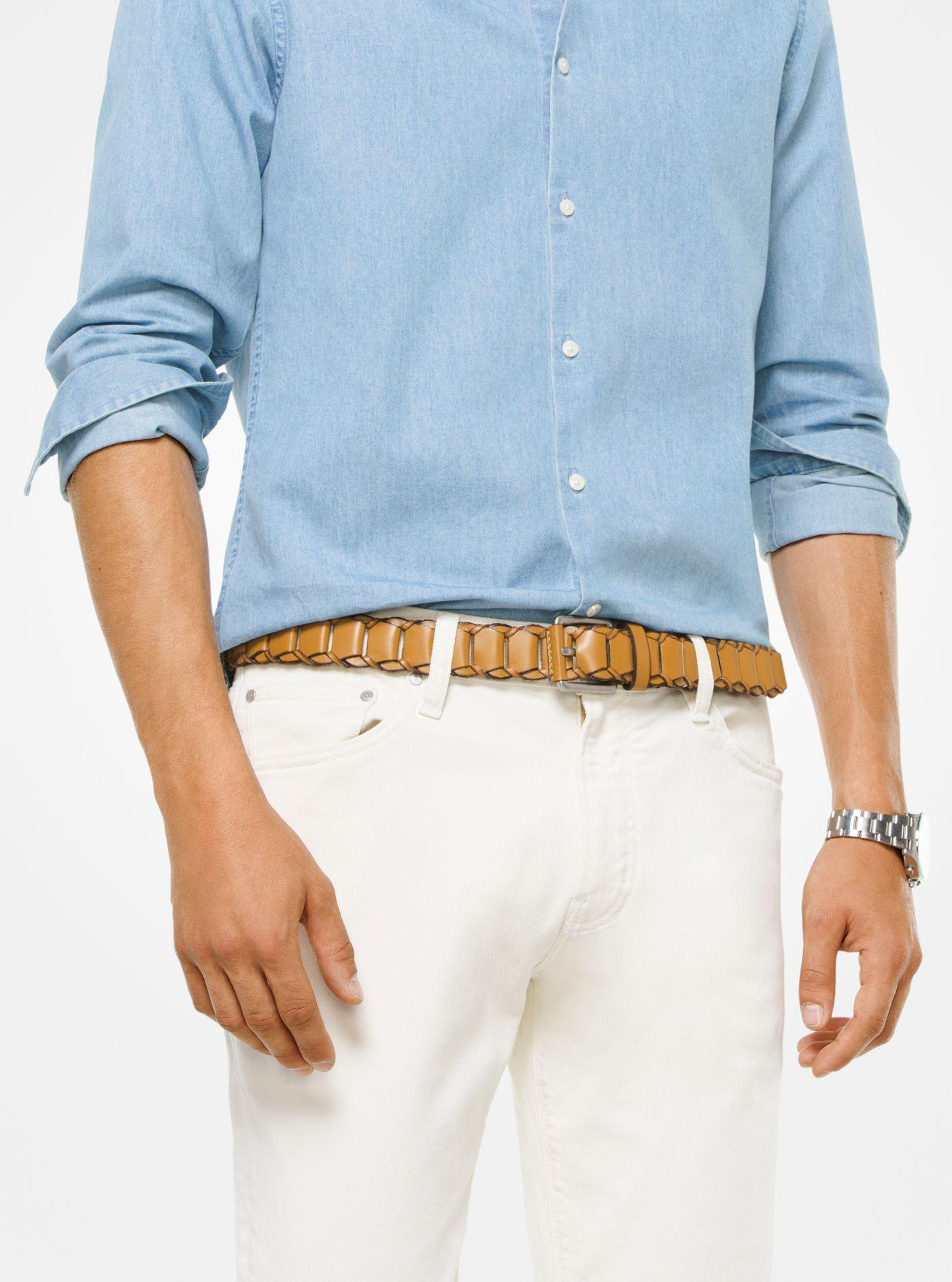 5897e13dea52c Michael Kors - Multicolor Braided Leather Belt for Men - Lyst. View  fullscreen