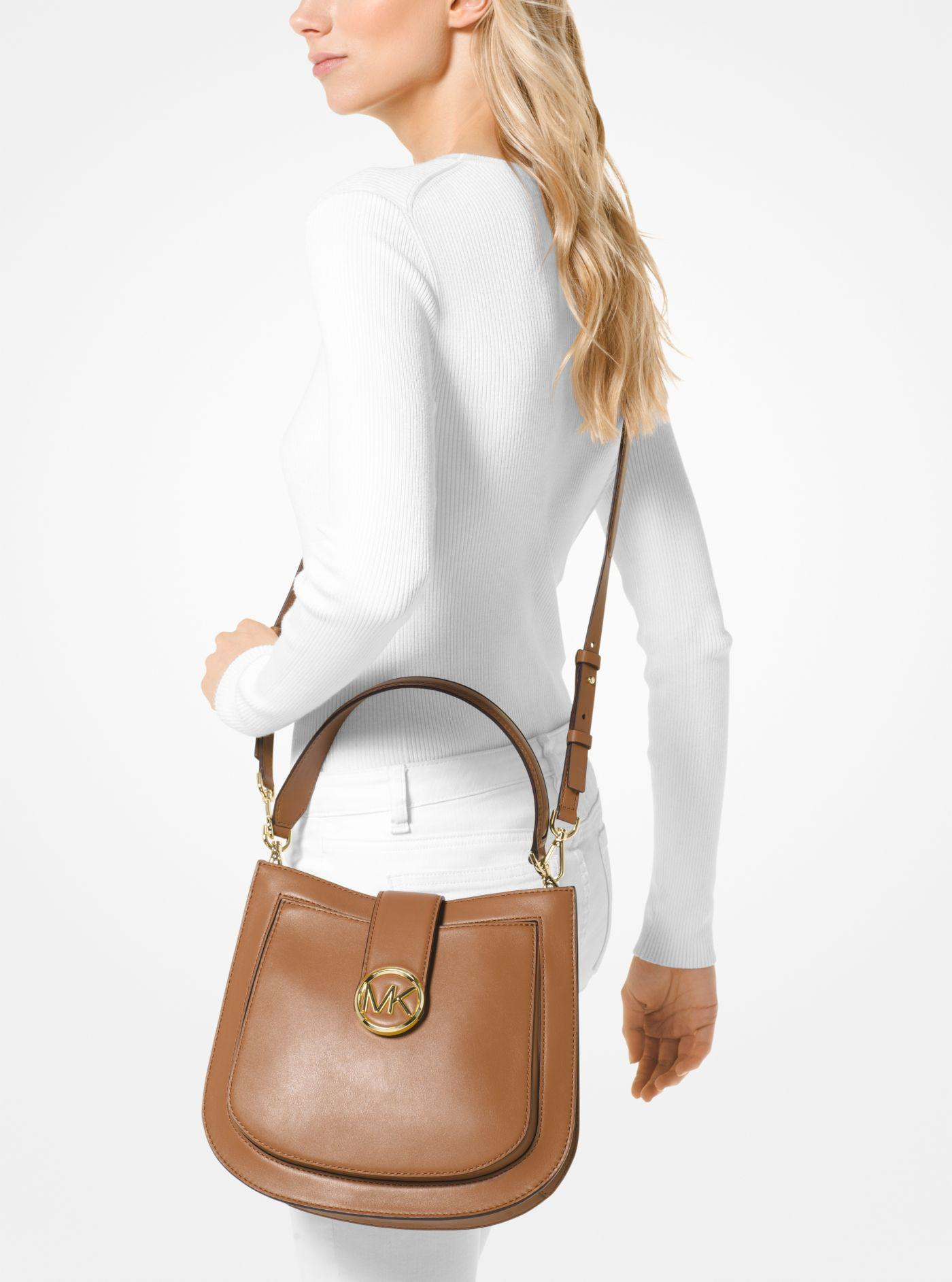 758dd6edd195 Michael Kors Lillie Medium Leather Shoulder Bag in Brown - Lyst