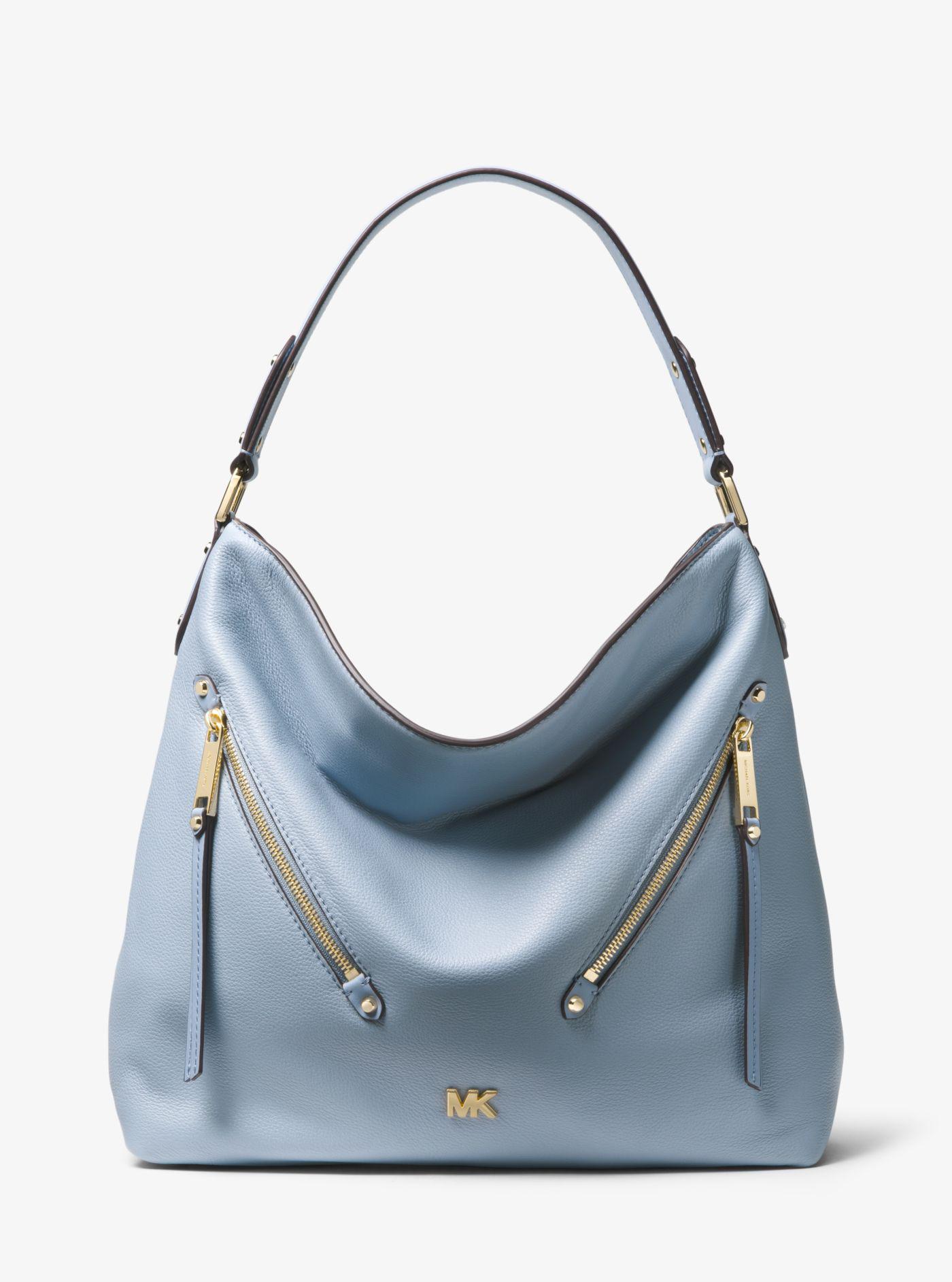 9bef21586fa7 Michael Kors Evie Large Pebbled Leather Shoulder Bag in Blue - Lyst