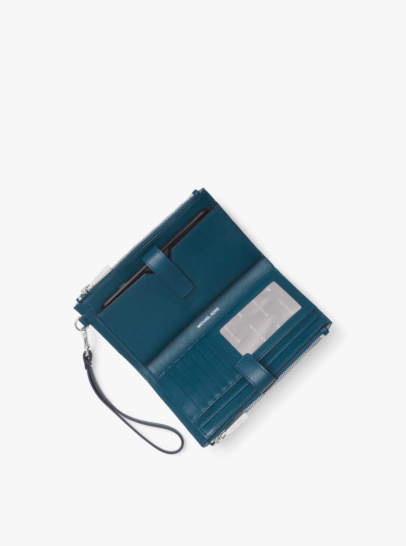 f2e09c106408 Michael Kors Adele Mixed-media Smartphone Wallet in Blue - Lyst