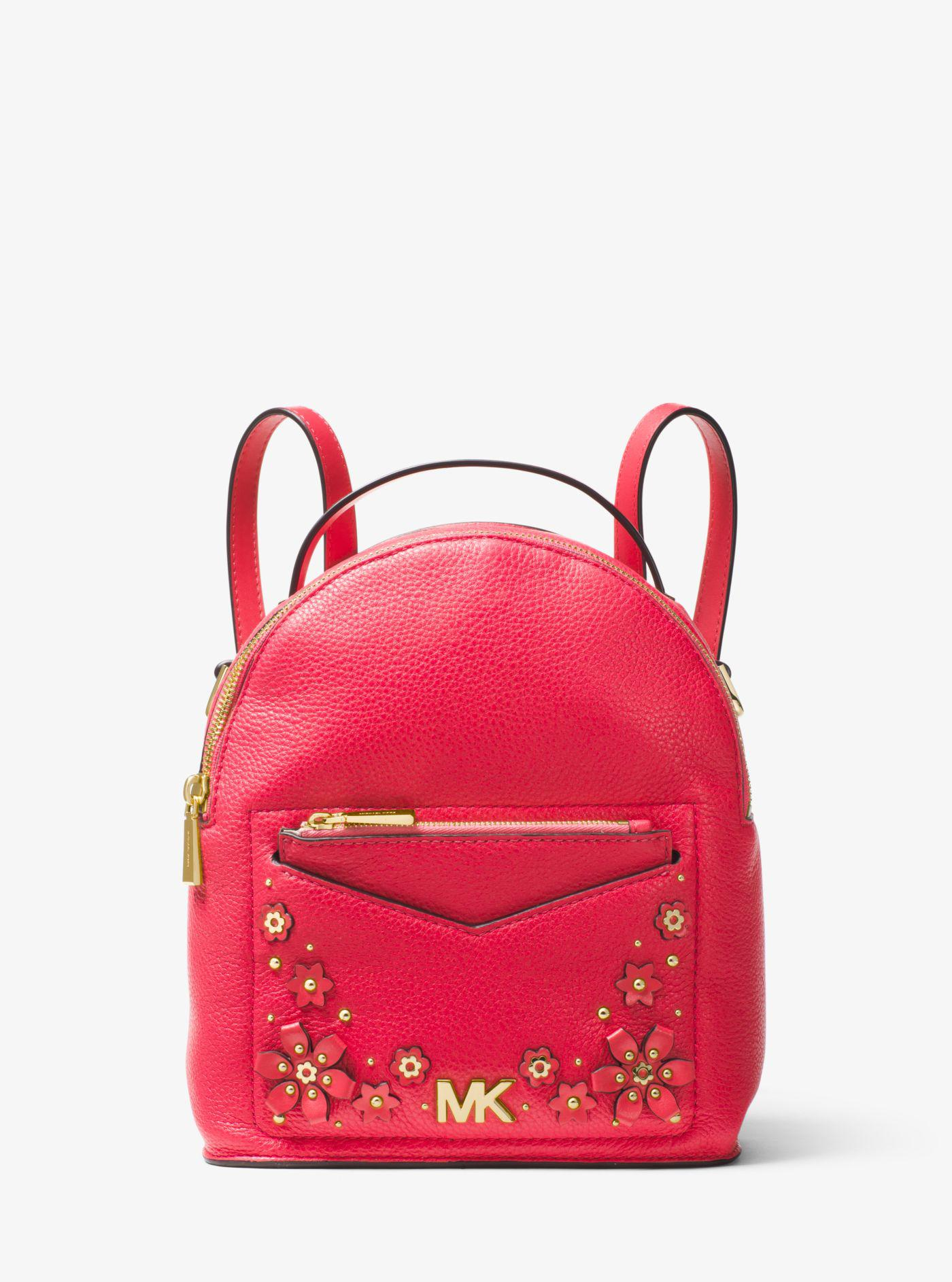 Lyst - Michael Kors Jessa Small Floral Embellished Pebbled Leather ... 3442a6a7a6b06