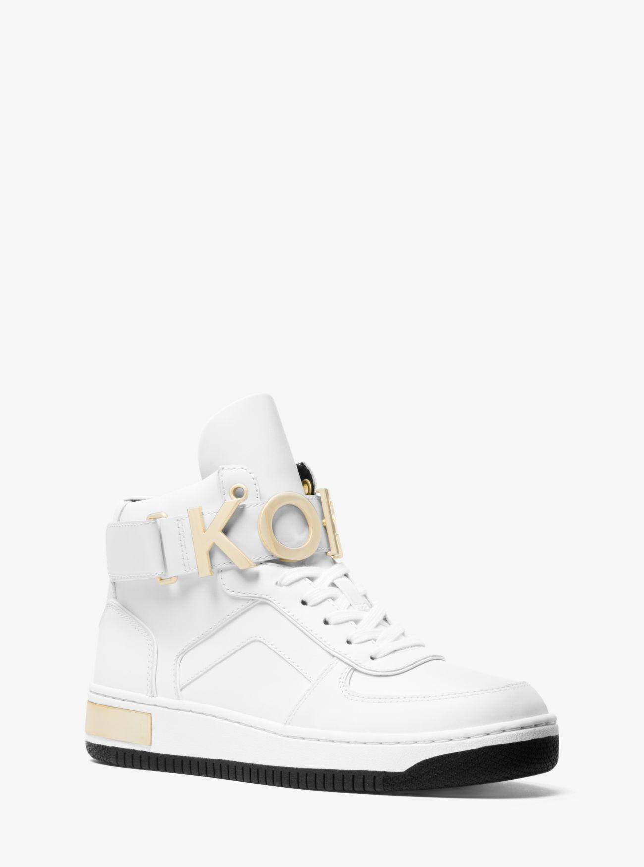 848e34d2cca Michael Kors Cortlandt Embellished Leather High-top Sneaker in White ...