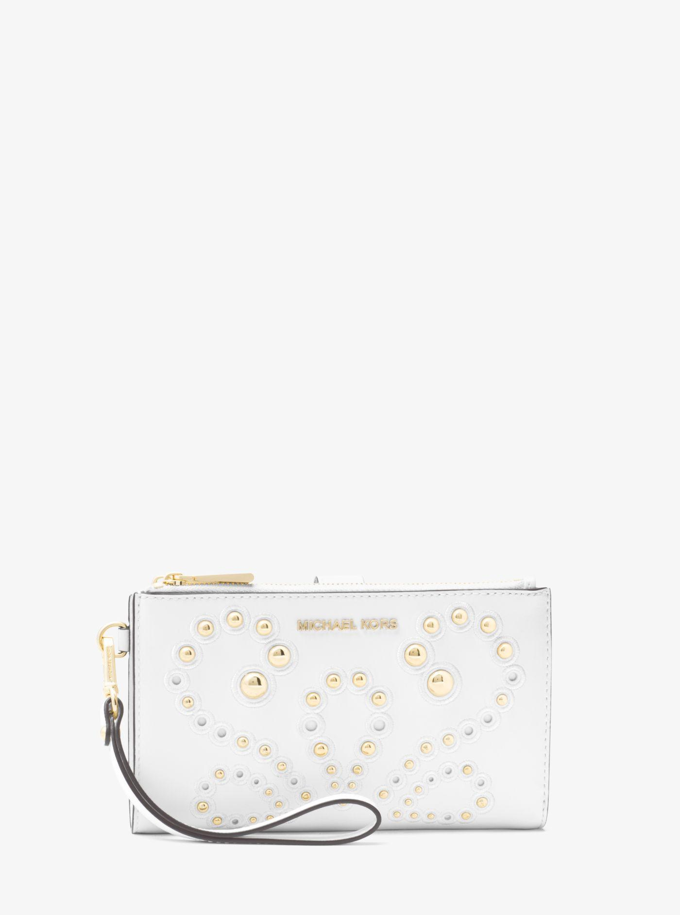 120886f65d68a5 Michael Kors Adele Embellished Leather Smartphone Wristlet in White ...