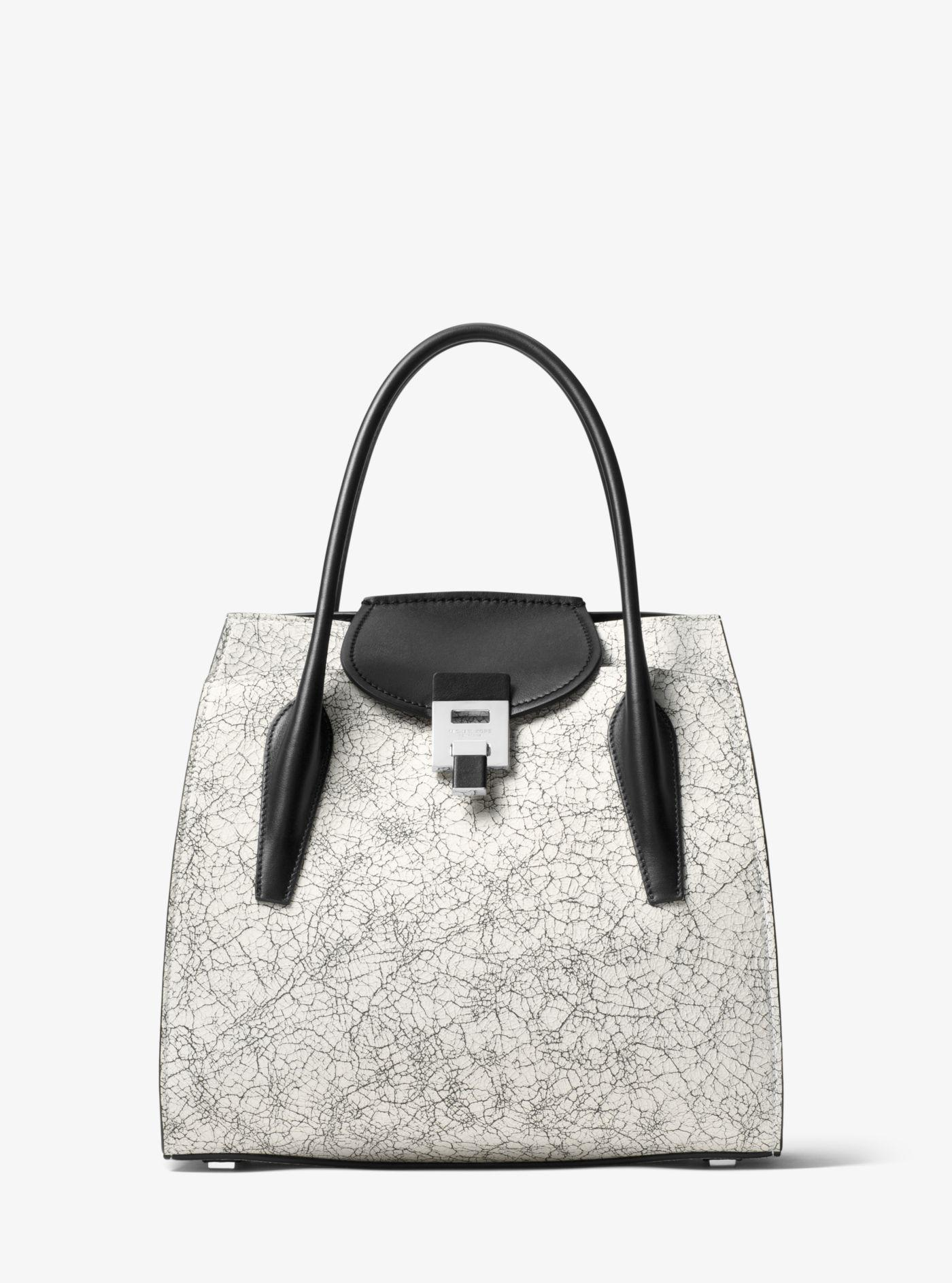b39845b25642 Lyst - Michael Kors Bancroft Large Crackled Leather Tote in White