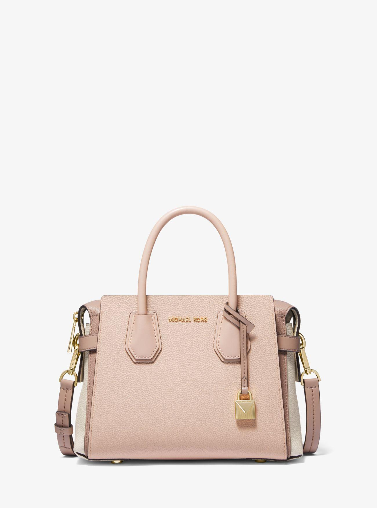 97590dc1db64 MICHAEL Michael Kors - Pink Mercer Small Pebbled Leather Belted Satchel -  Lyst. View fullscreen