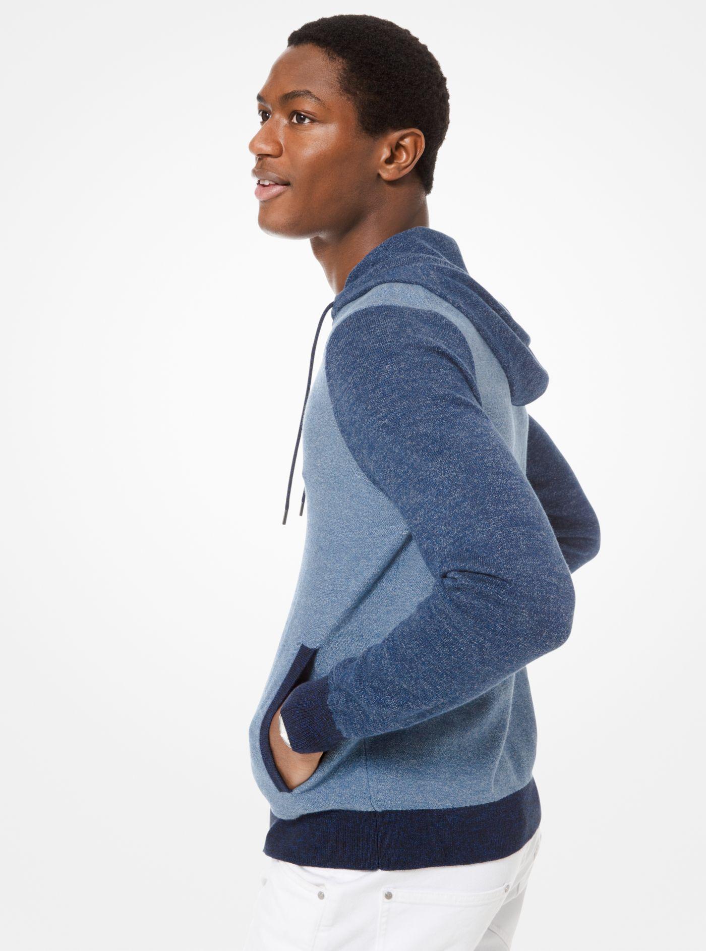 c26d8d95e4e0d Michael Kors - Blue Color-block Cotton Zip-up Hoodie for Men - Lyst. View  fullscreen