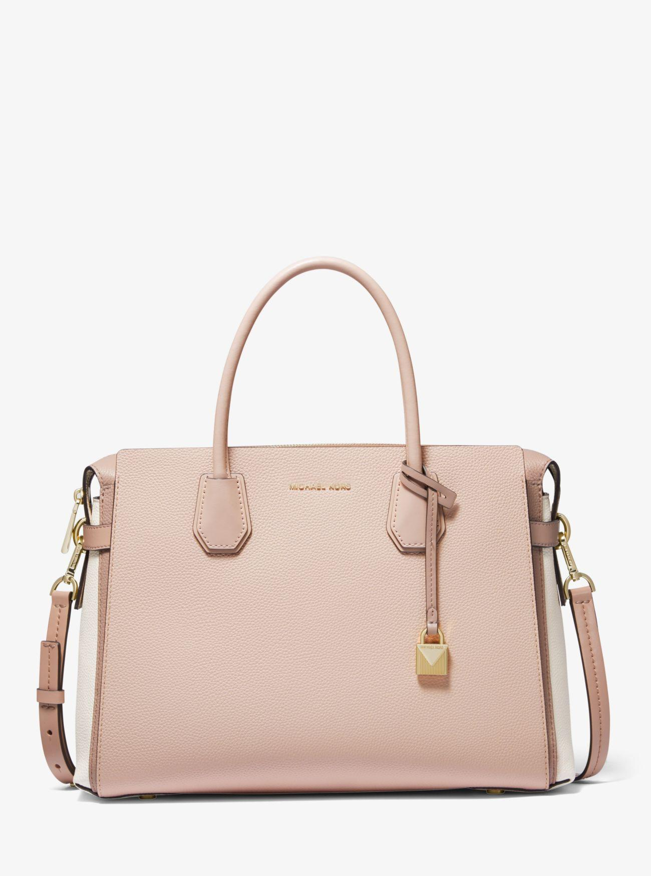 60b08b77fe8f MICHAEL Michael Kors. Women s Pink Mercer Large Tri-color Pebbled Leather  Belted Satchel