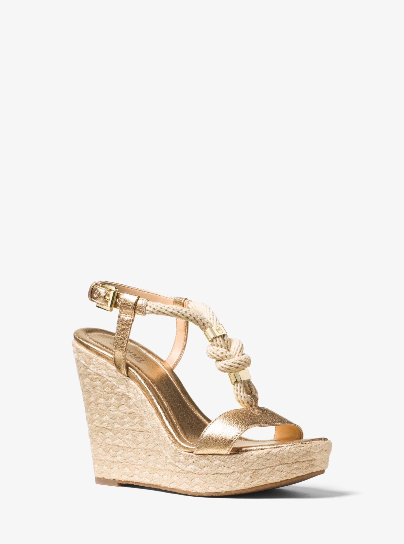 a40604637136 Lyst - Michael Kors Holly Rope-trim Metallic Leather Wedge in Metallic