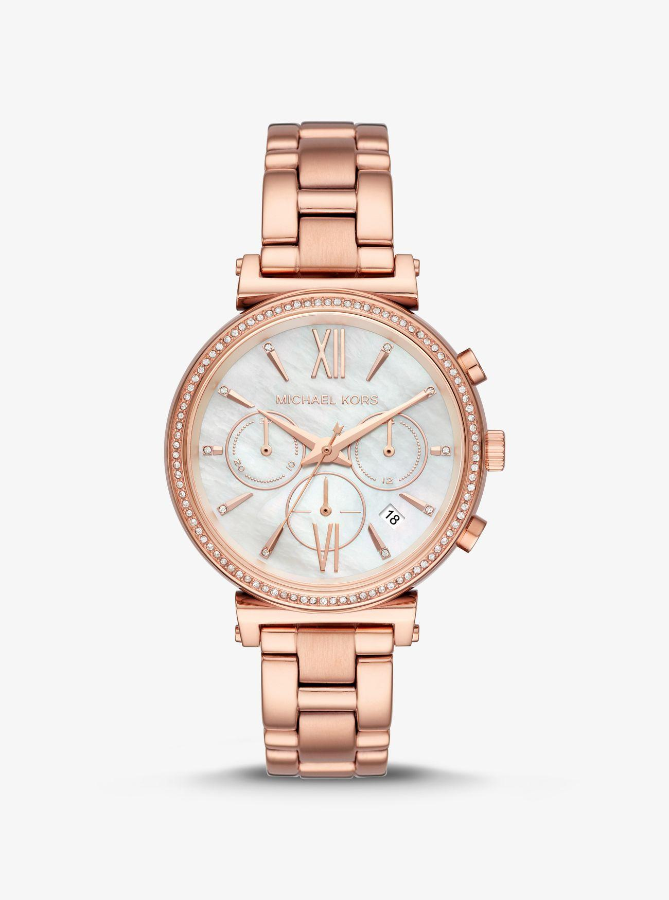f901880dd999 Lyst - Michael Kors Sofie Pave Rose Gold-tone Watch in Pink - Save 44%