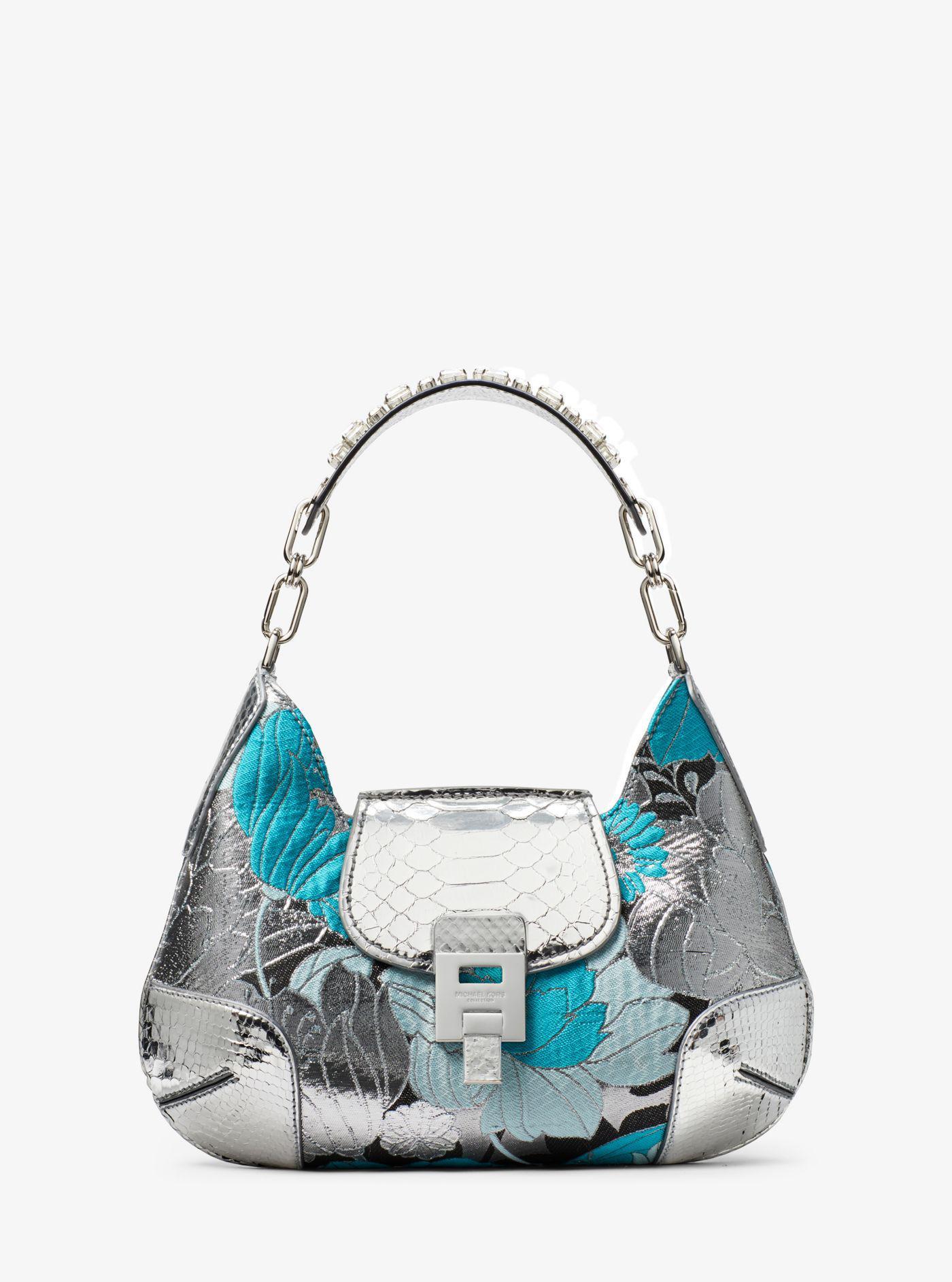 4b658c9c56887 Michael Kors Bancroft Medium Floral Brocade Shoulder Bag in Blue - Lyst