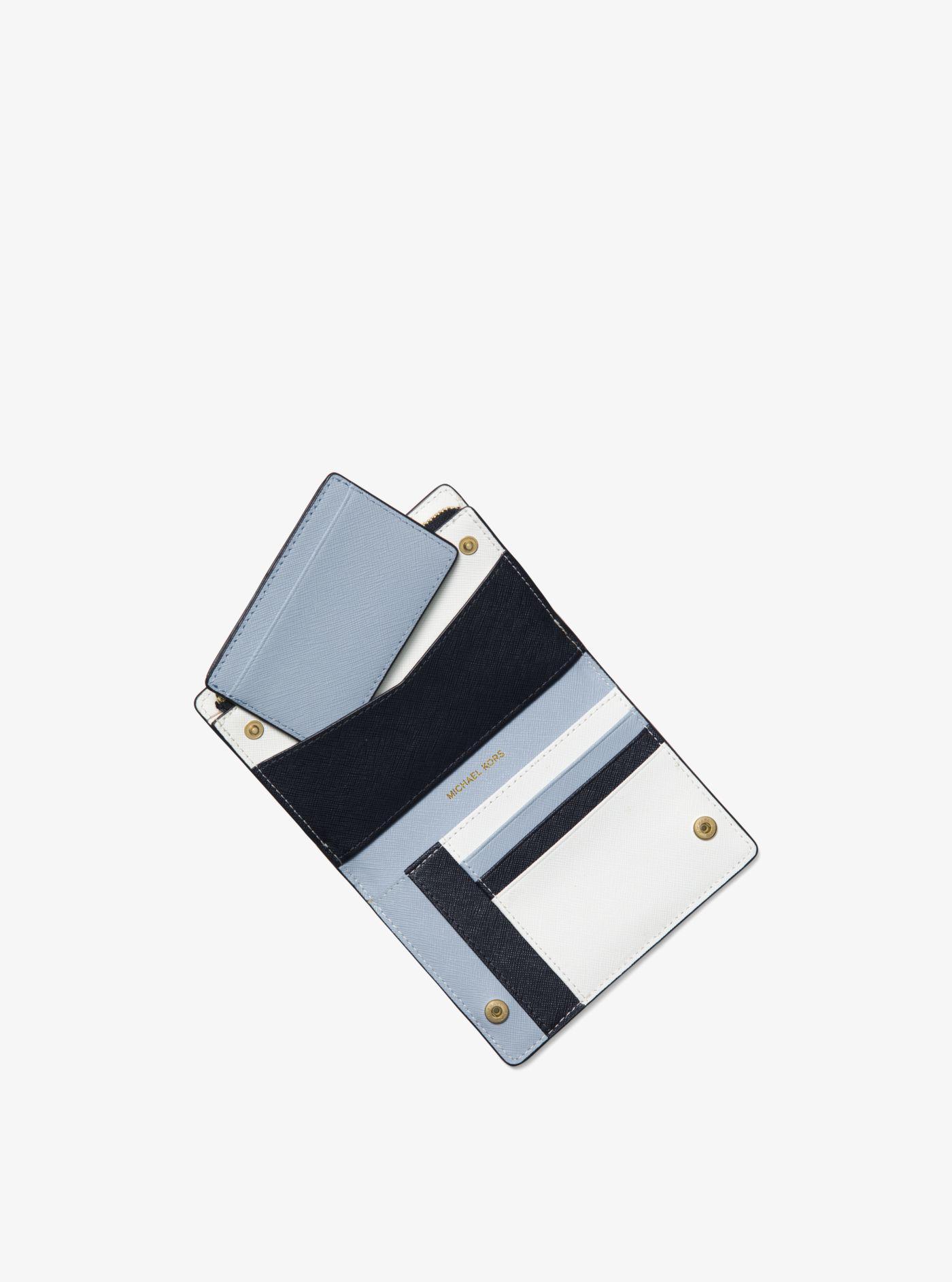 4f38ac890e65 Michael Kors Medium Saffiano Leather Slim Wallet in Blue - Lyst