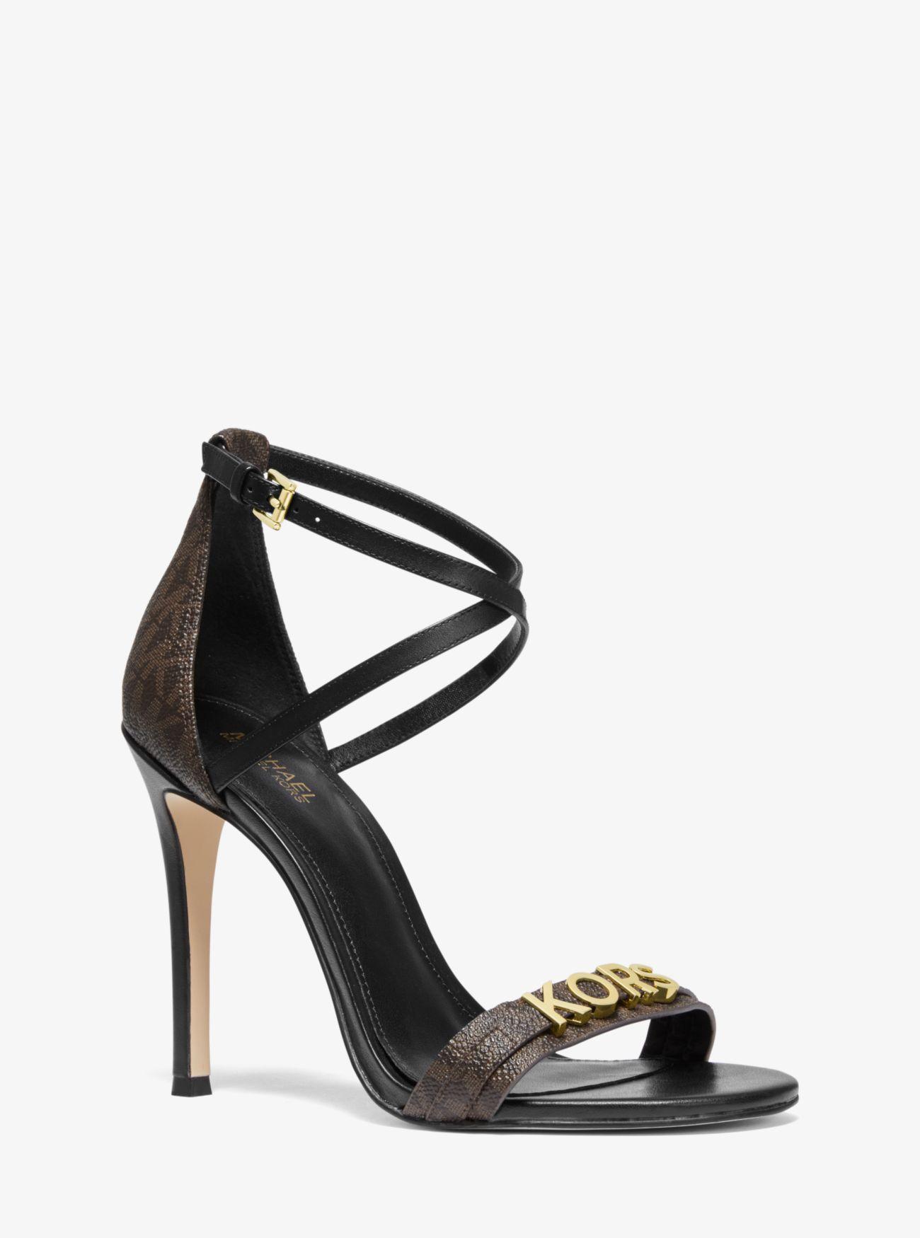 4ccba7ec109b Lyst - MICHAEL Michael Kors Goldie Logo Sandal in Brown