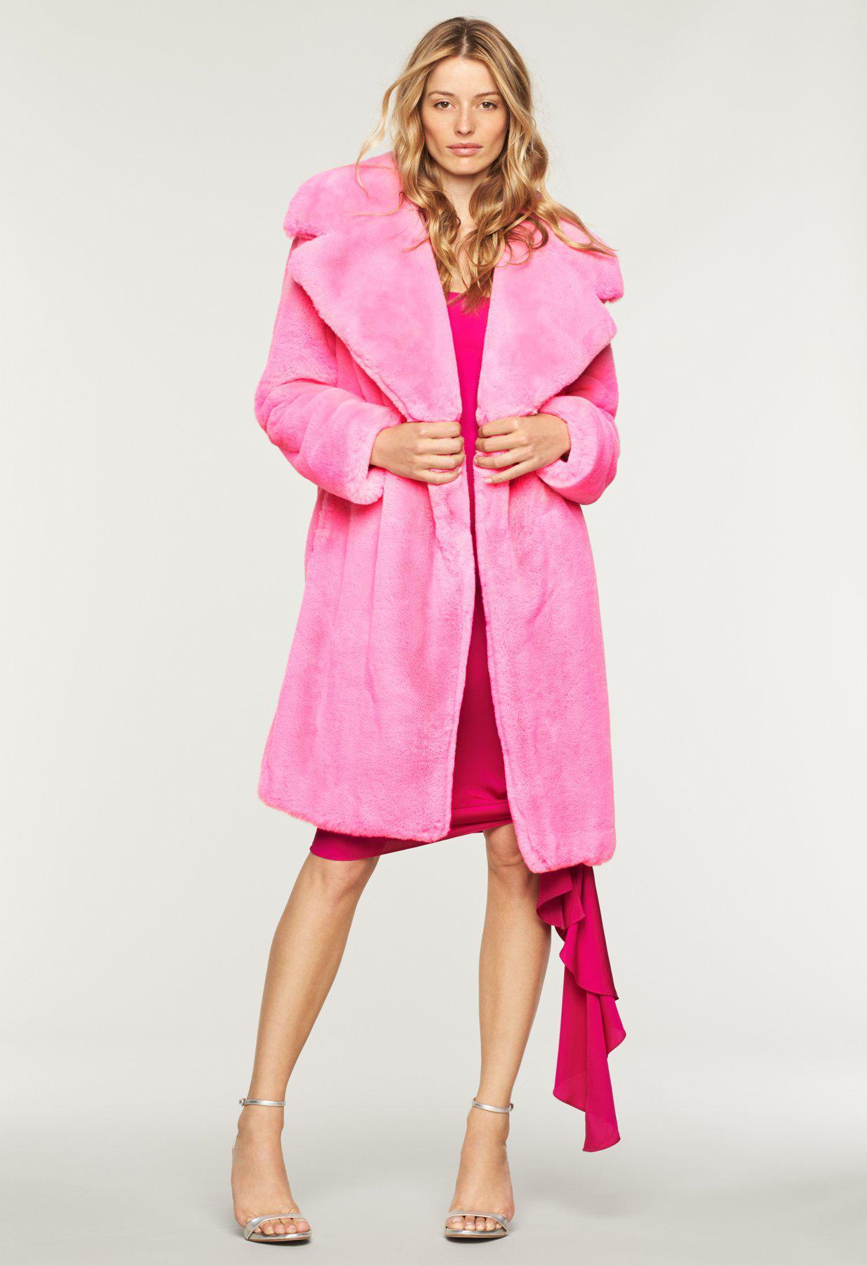 e2d4a1d41309 MILLY Faux Fur Riley Coat in Pink - Lyst