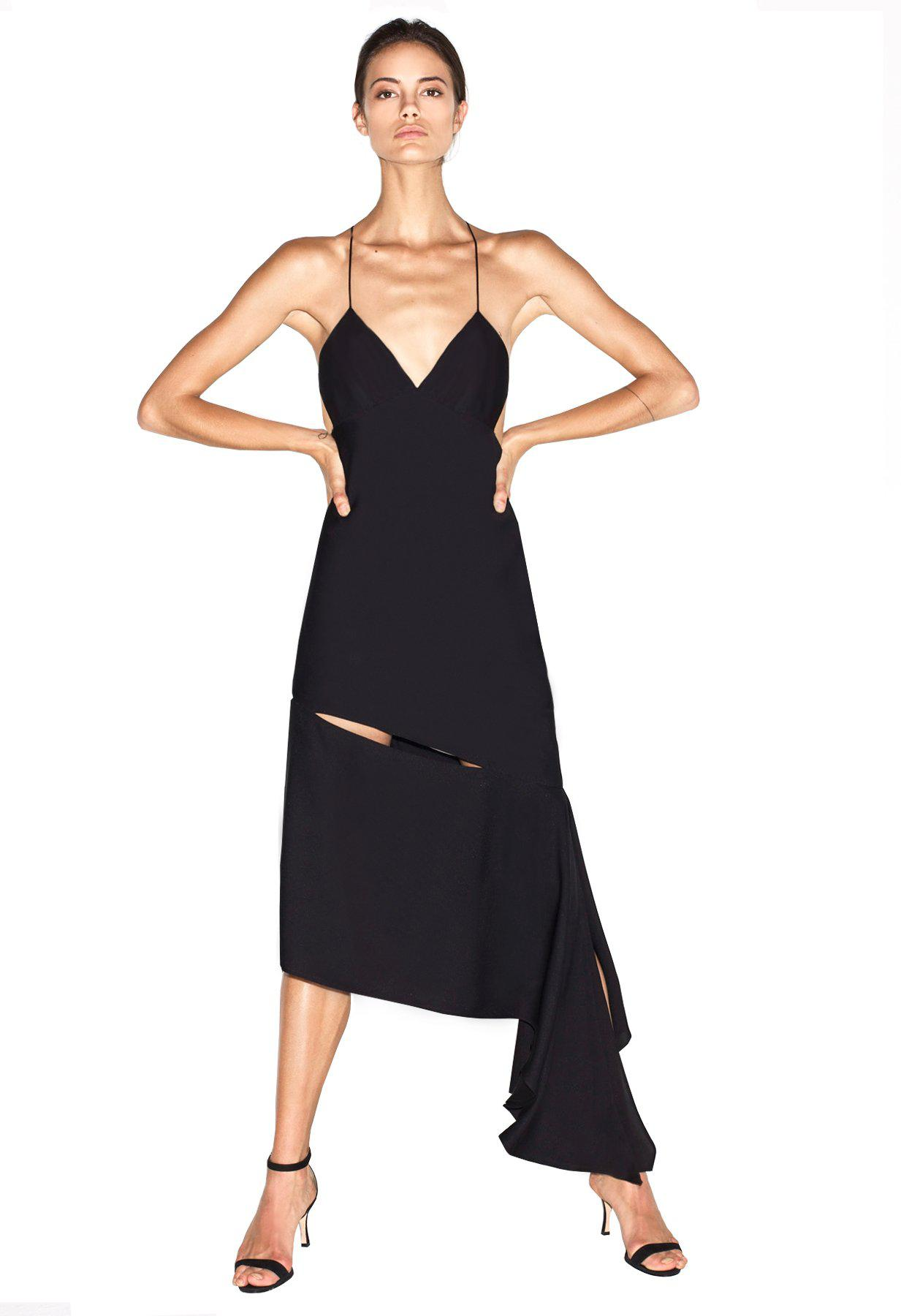 a3bf535fdf0a7 Lyst - MILLY Stretch Silk Fractured Bias Slipdress in Black