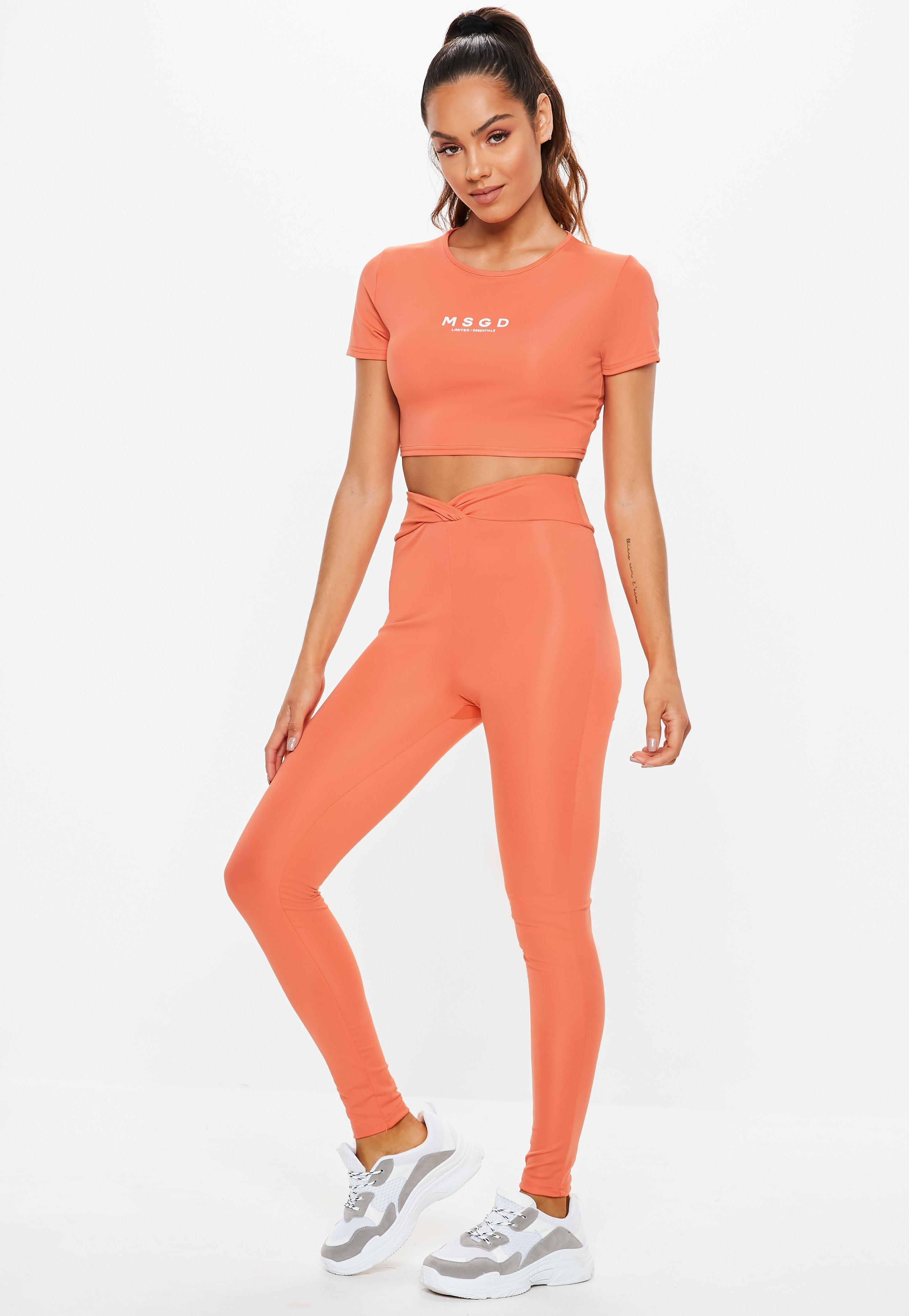 b3e5c95998339d Missguided - Active Orange Short Sleeve Crop Top - Lyst. View fullscreen