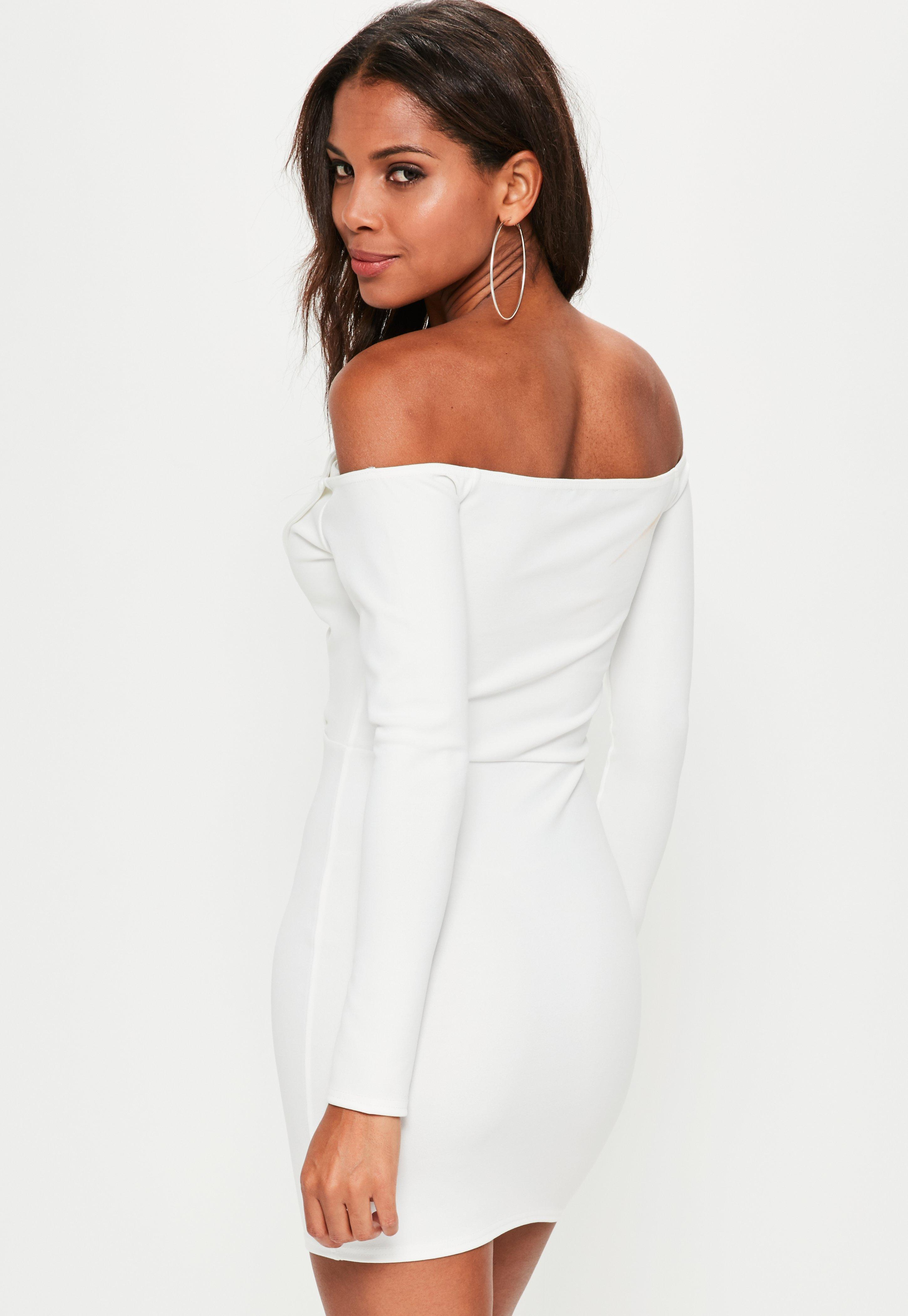 2fc45ca6b89c Missguided - White Bardot Foldover Wrap Dress - Lyst. View fullscreen