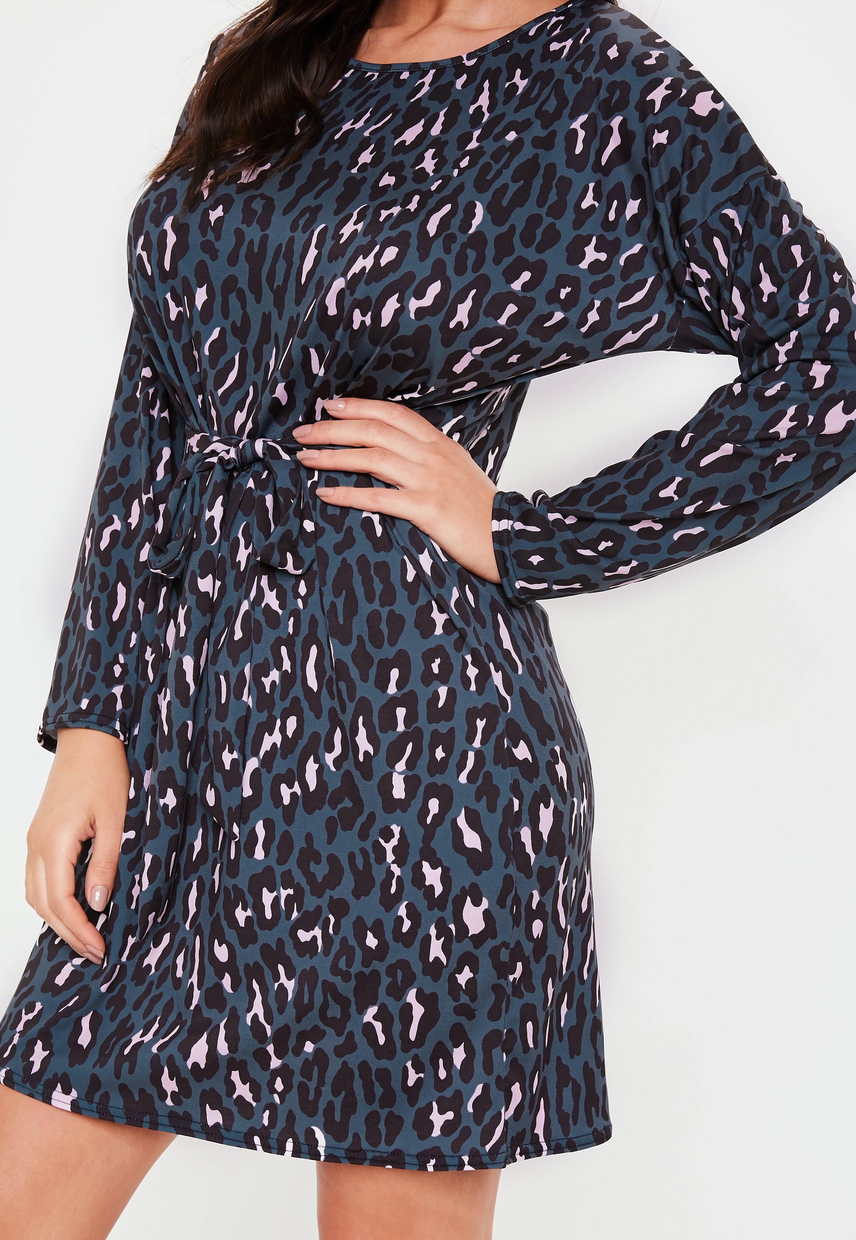 27d7b3fb07f Missguided Grey Leopard Print Tie Waist T Shirt Dress in Gray - Lyst