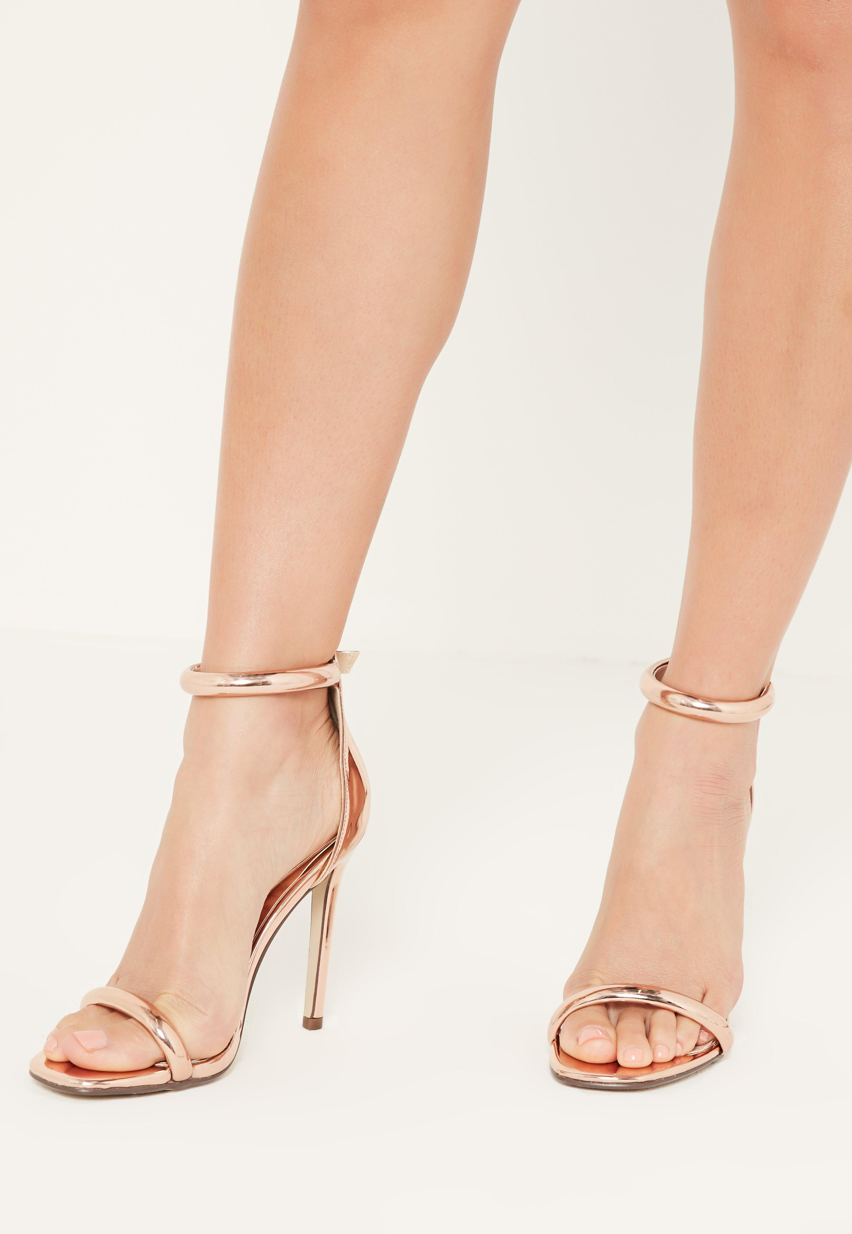2e360ed1e4cc Missguided Rose Gold Rounded Strap Barely There Sandals in Pink - Lyst