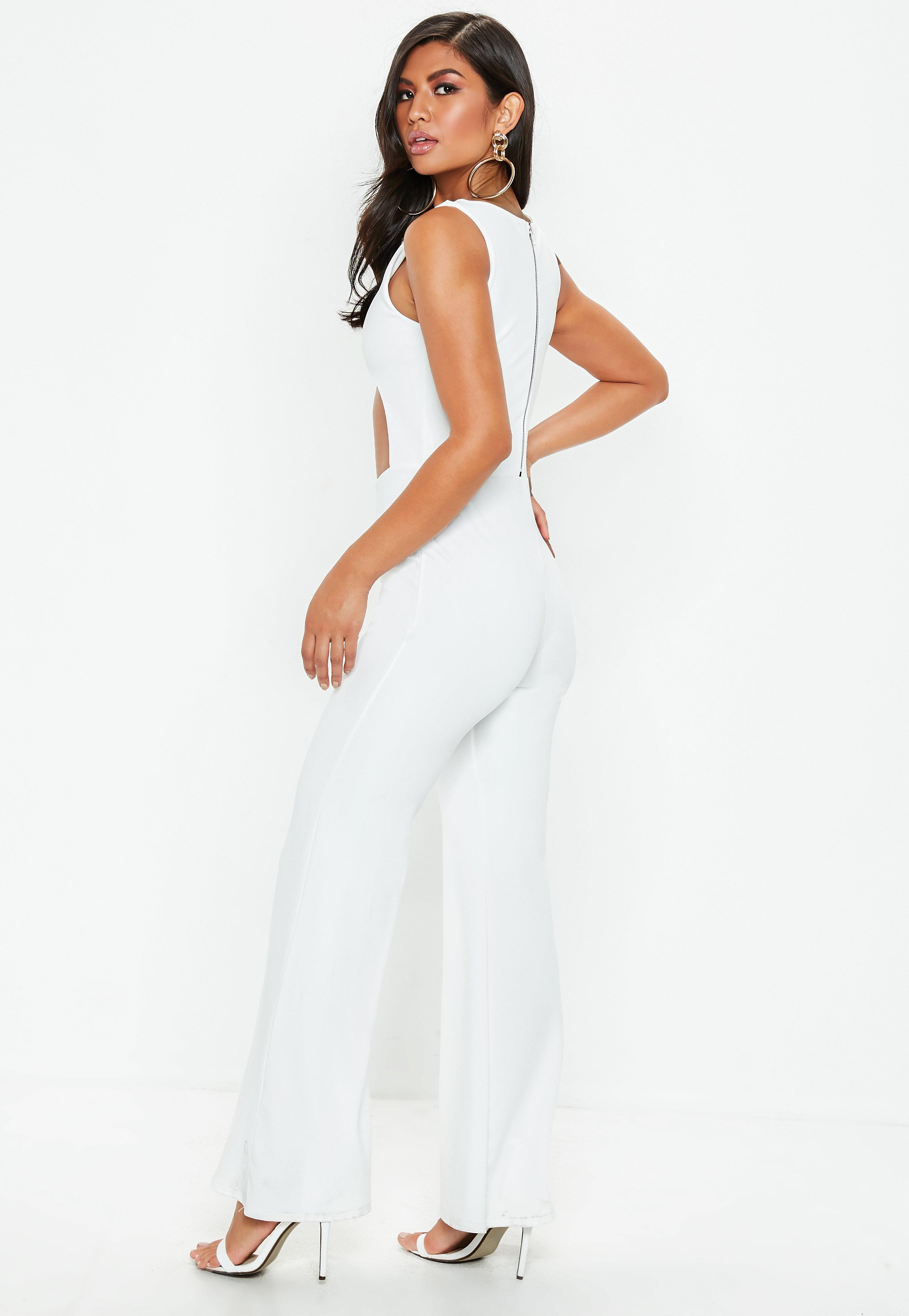 46ae08b16adc Missguided - White Underboob Cut Out Flared Leg Jumpsuit - Lyst. View  fullscreen