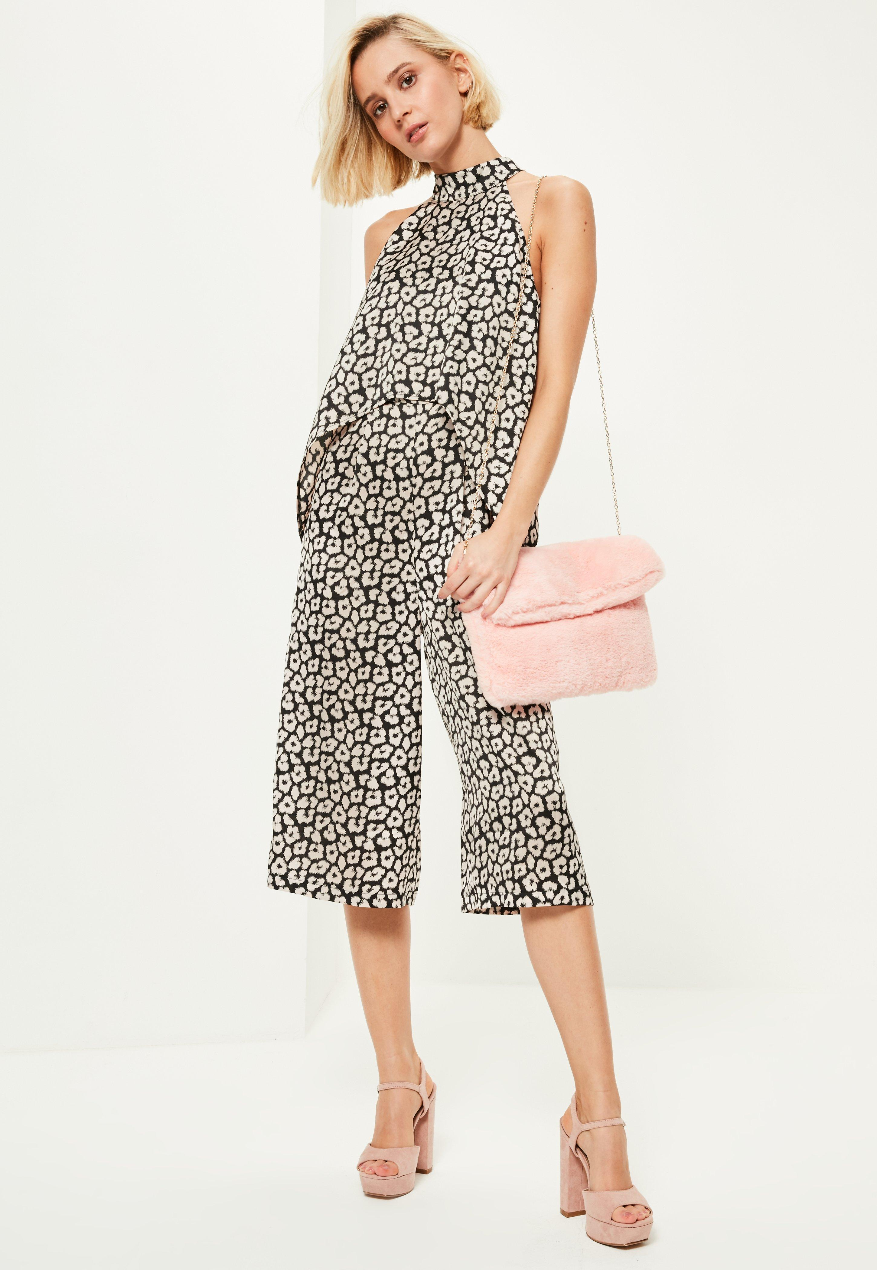 121151bd2eed Lyst - Missguided Black Leopard Print High Neck Double Layer Culotte ...