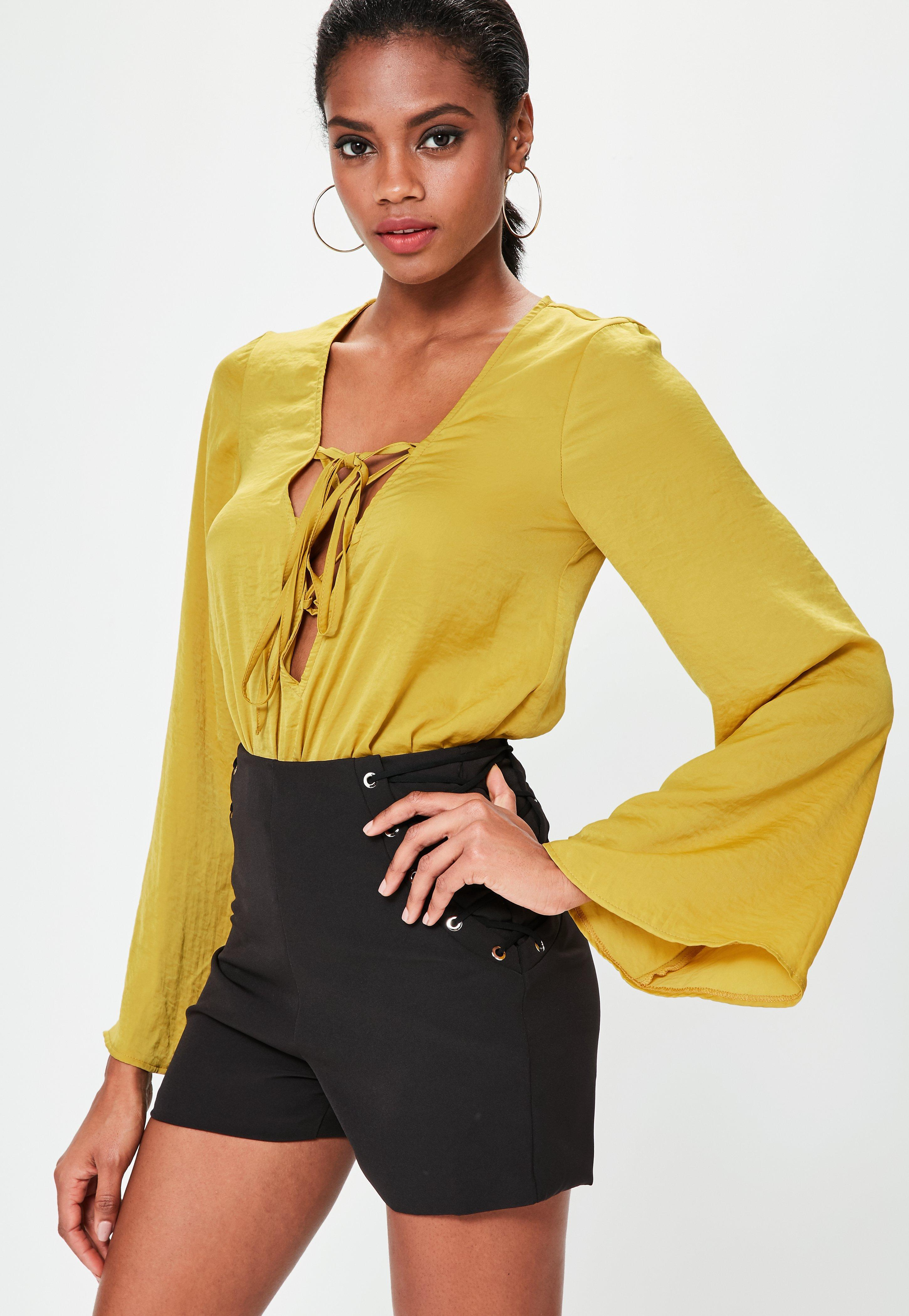 Missguided Yellow Lace Up Satin Bodysuit in Yellow - Lyst 2129687a8
