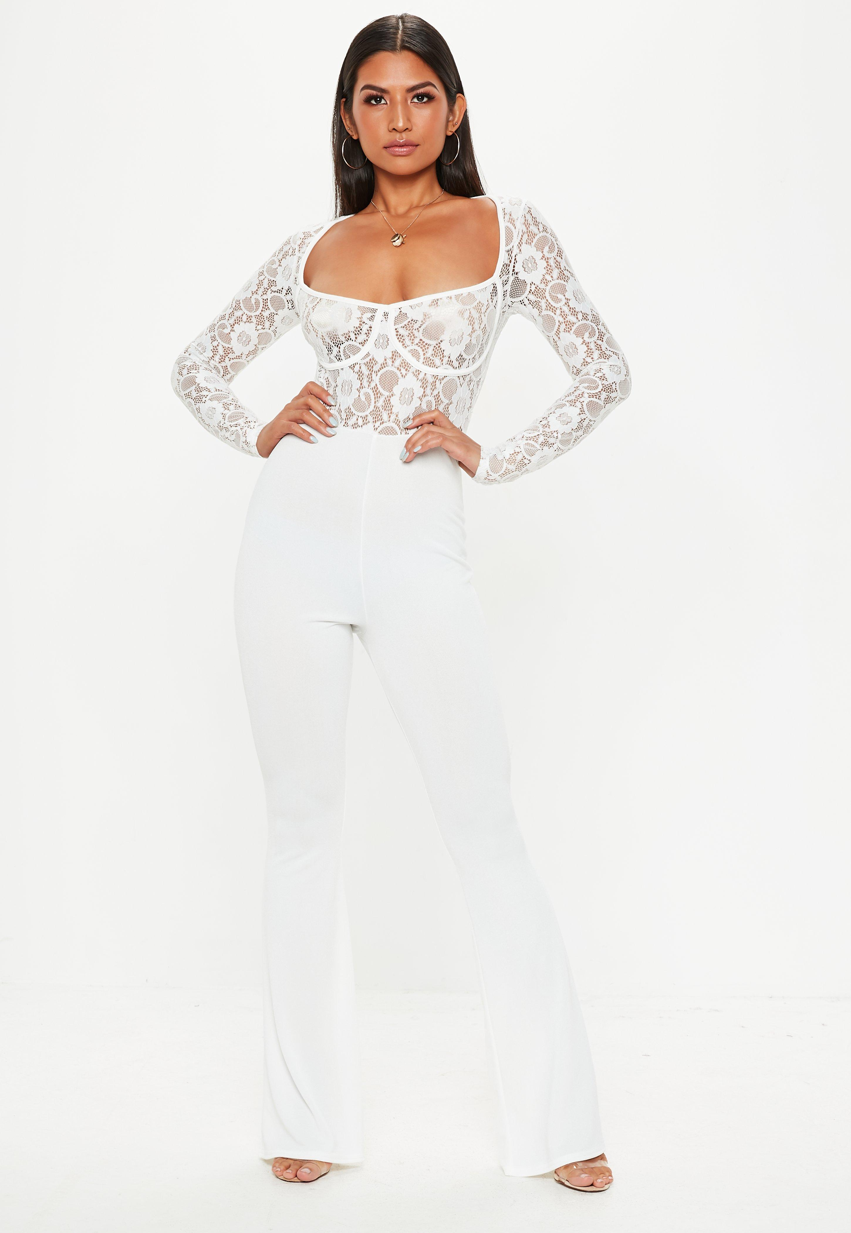 9202eff265f Missguided - White Lace Cupped Jumpsuit - Lyst. View fullscreen