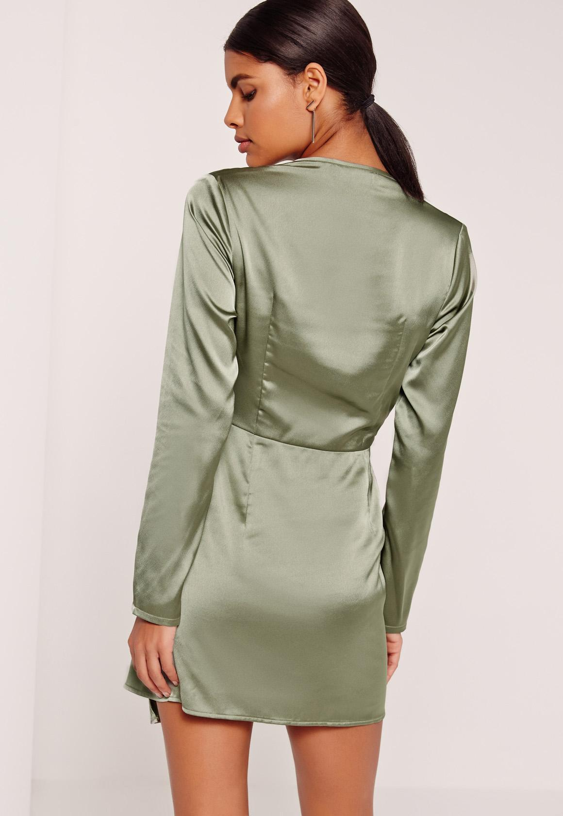 7e53ae4d8c Missguided Silky Plunge Wrap Shift Dress Green in Green - Lyst