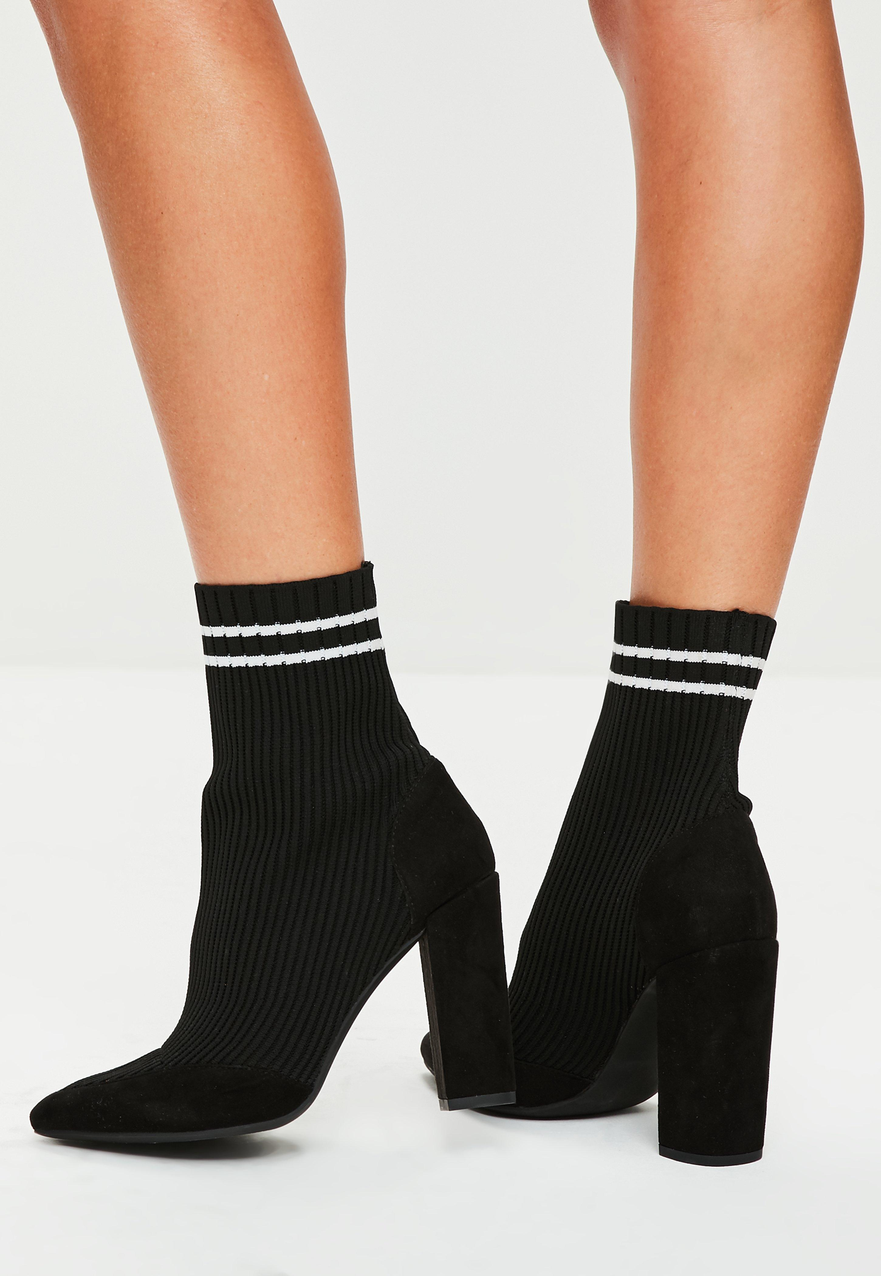 3a93d9e615e6 Lyst - Missguided Black Knitted Stripe Pointed Ankle Boots in Black