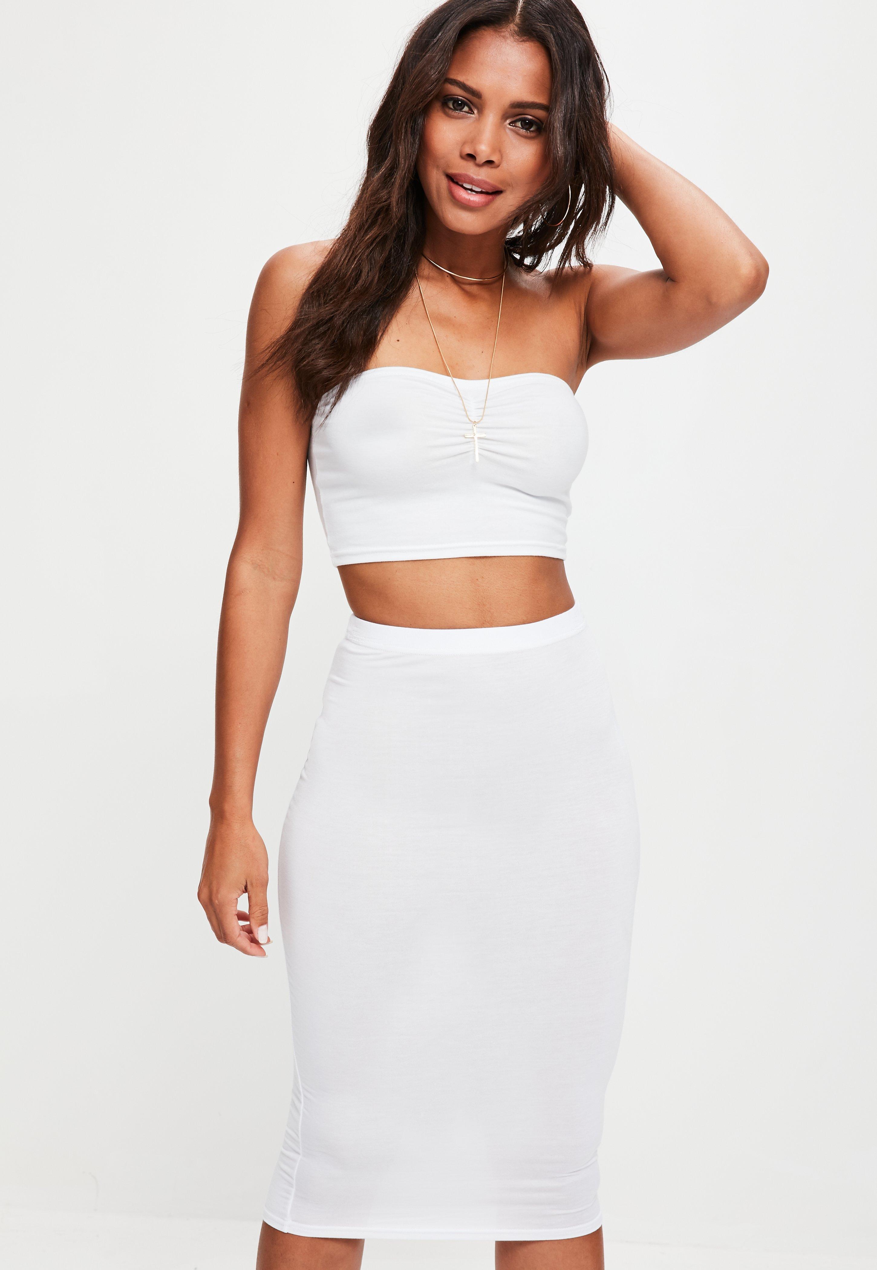 efc76f440b Missguided White Jersey Midi Skirt in White - Lyst