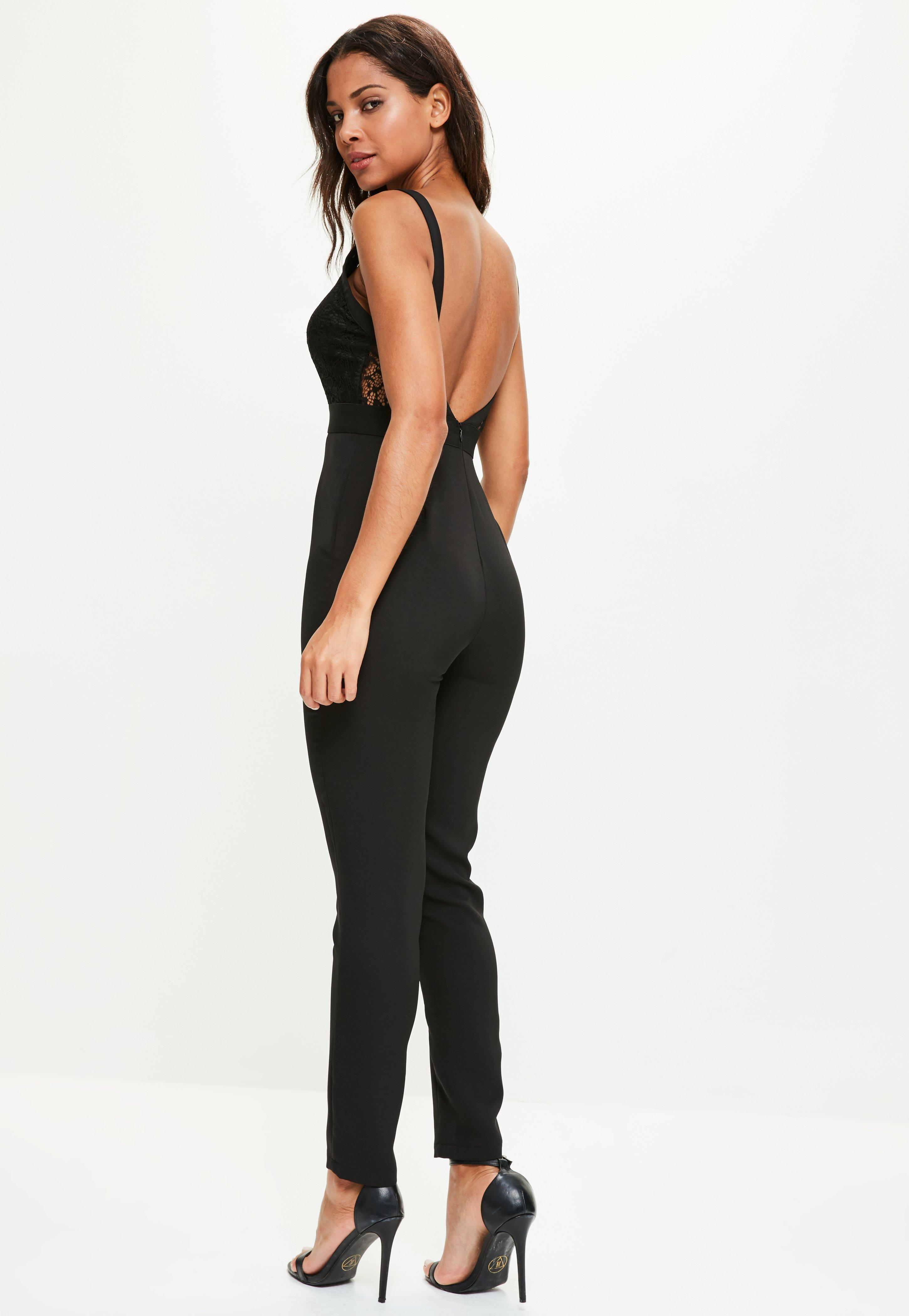 915a32a00f3 Lyst - Missguided Lace Eyelet Harness Jumpsuit Black in Black