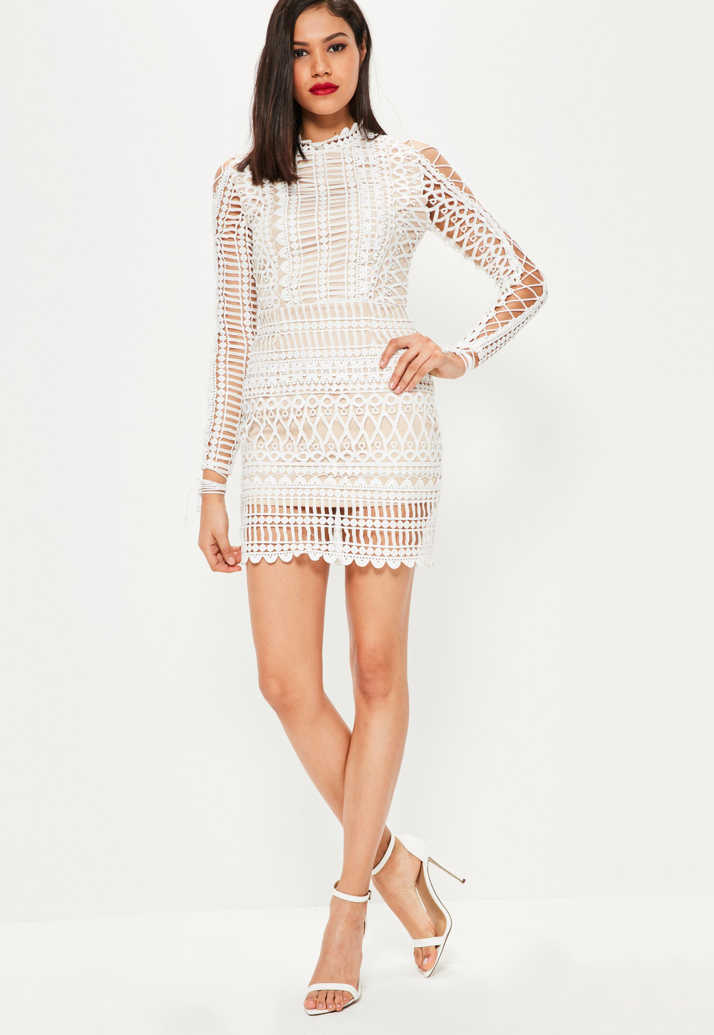 a7bcf6f82658 Lyst - Missguided White Lace High Neck Lace Up Sleeve Bodycon Dress ...