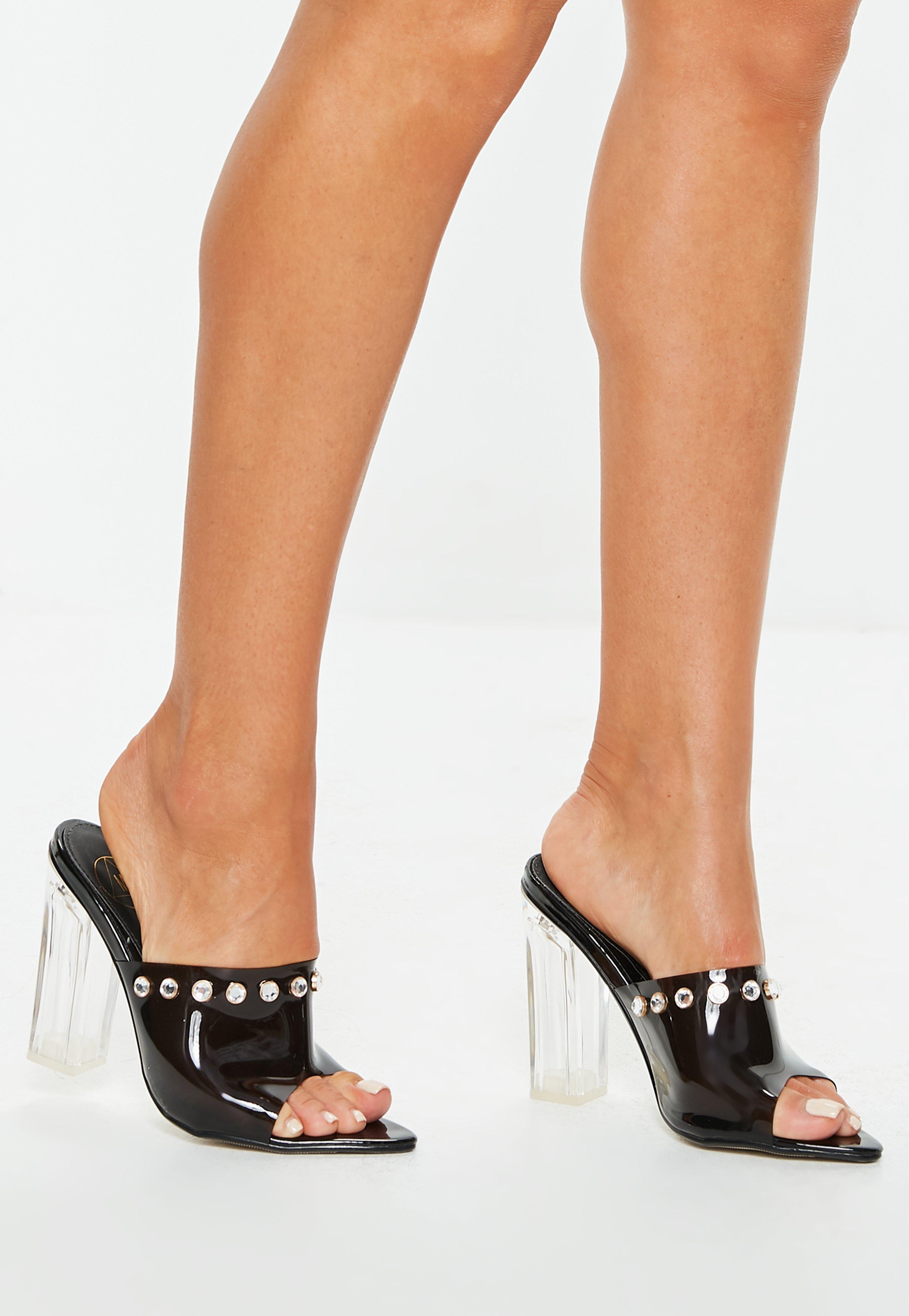 c7792b597dd Lyst - Missguided Black Clear Block Heel Mules in Black