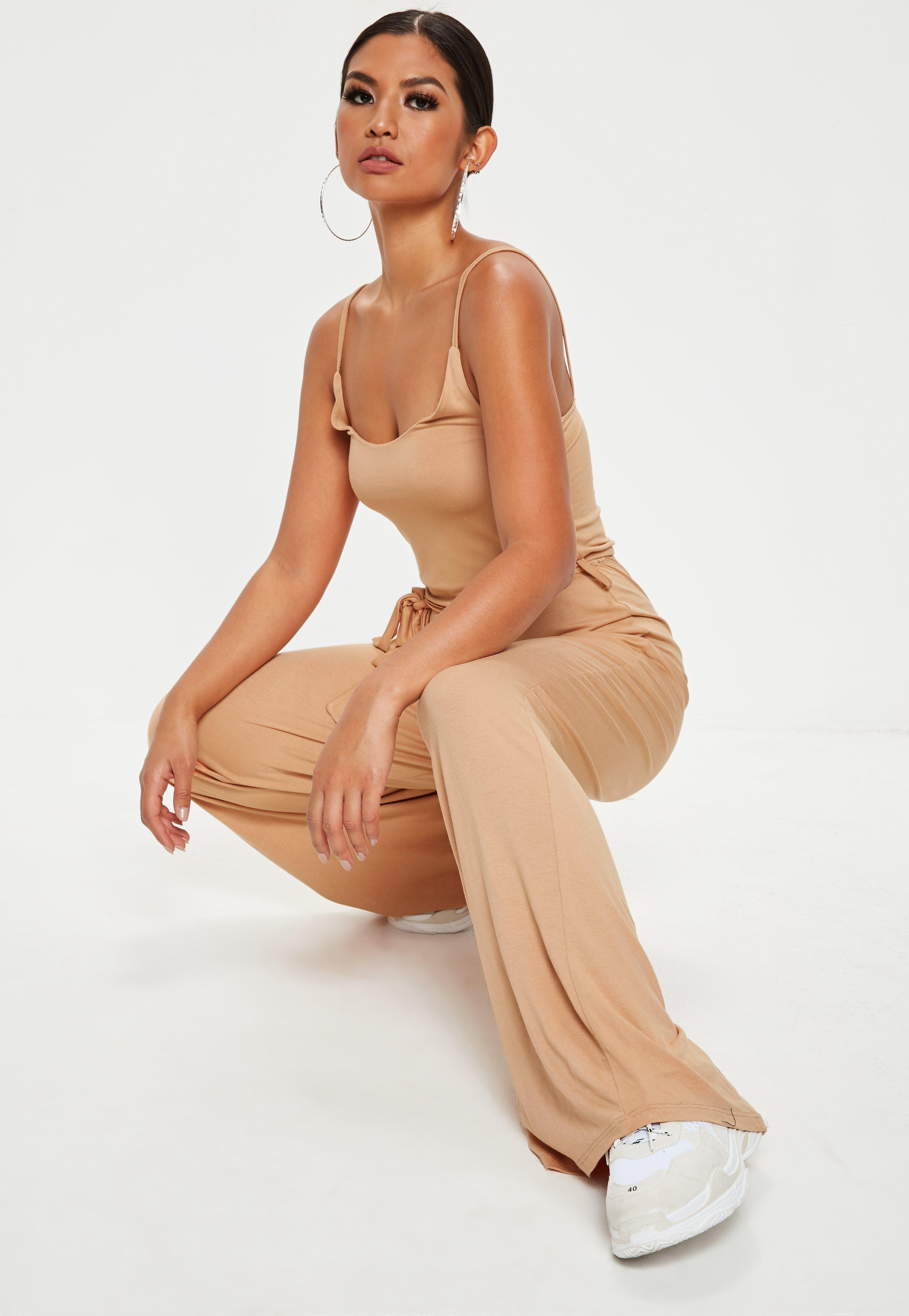 327422a95a4 Missguided Nude Slouch Cami Wide Leg Jumpsuit in Natural - Lyst