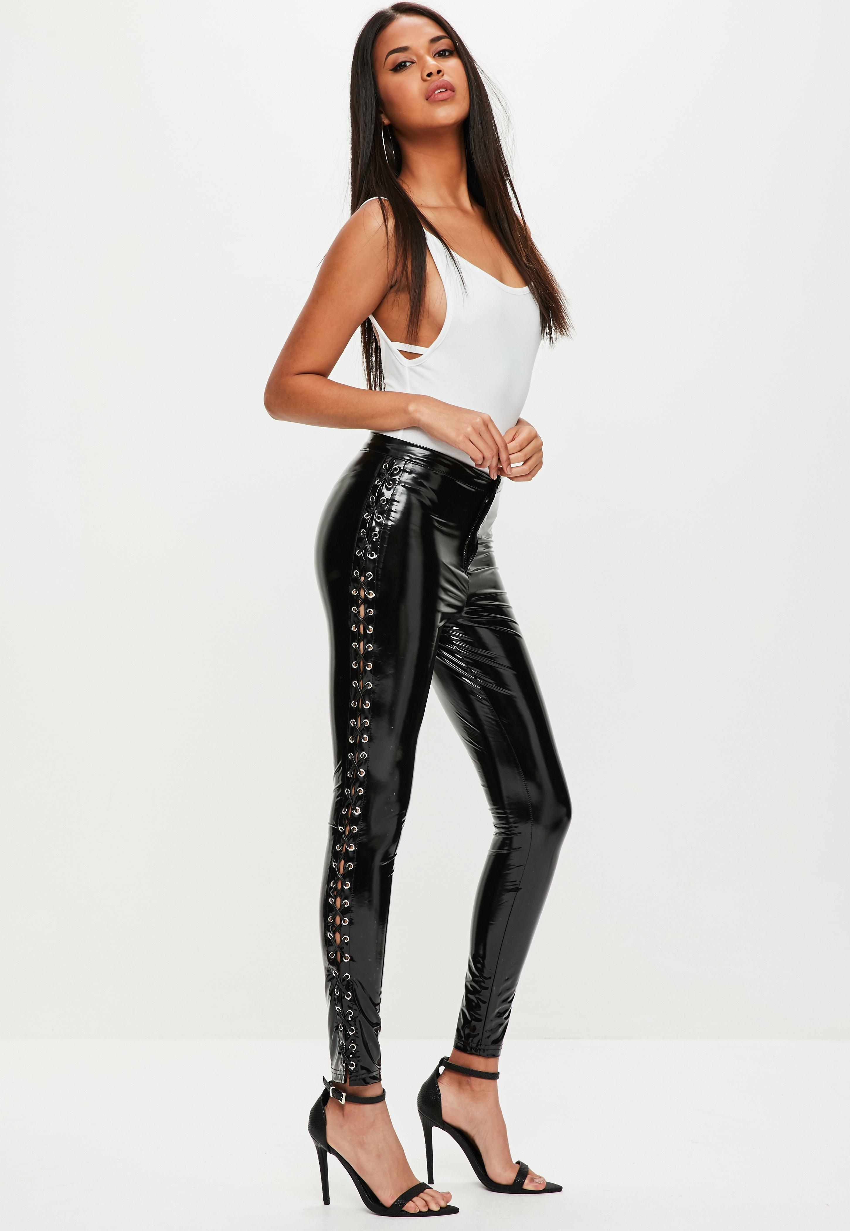 2a7362ff0fcd Missguided Black Vinyl High Shine Lace Up Trousers in Black - Lyst