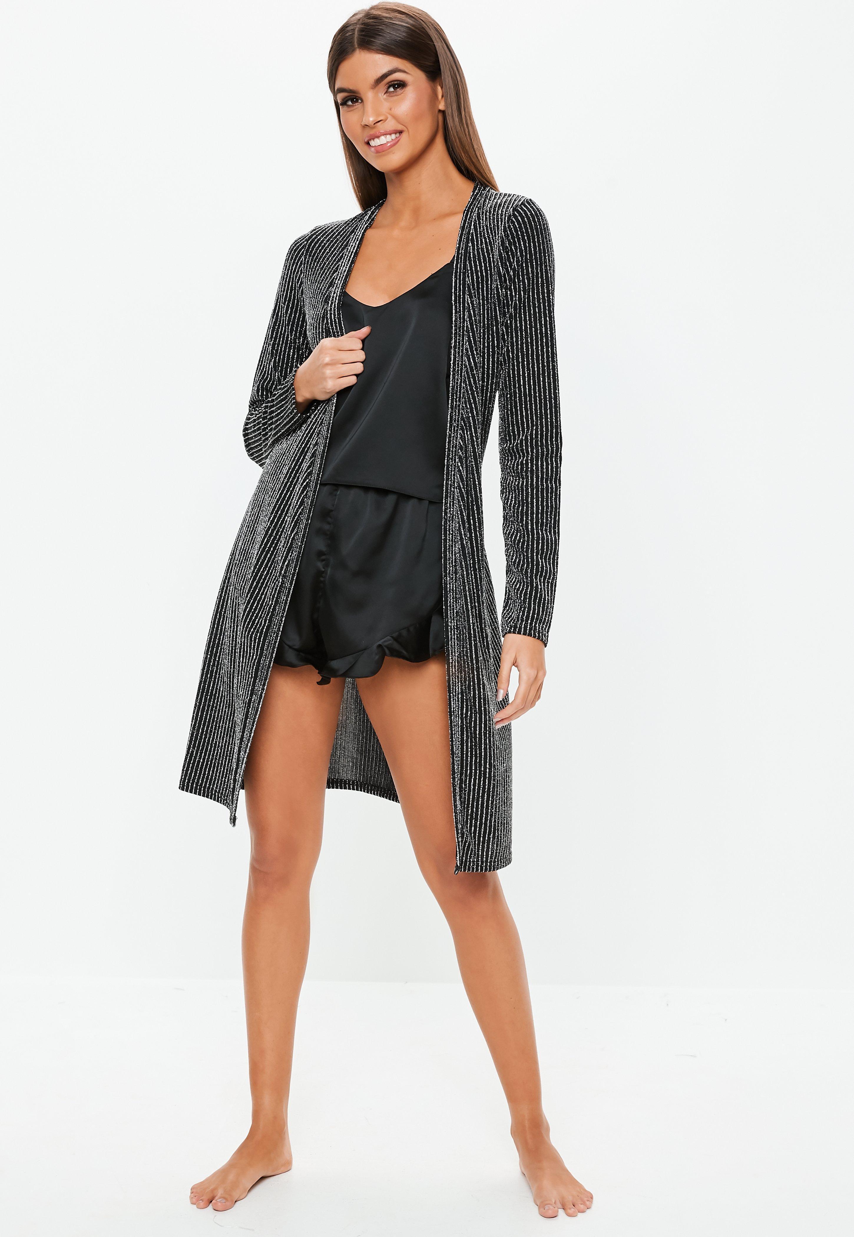 6bcfb6f981 Missguided - Black Metallic Stripe Dressing Gown - Lyst. View fullscreen