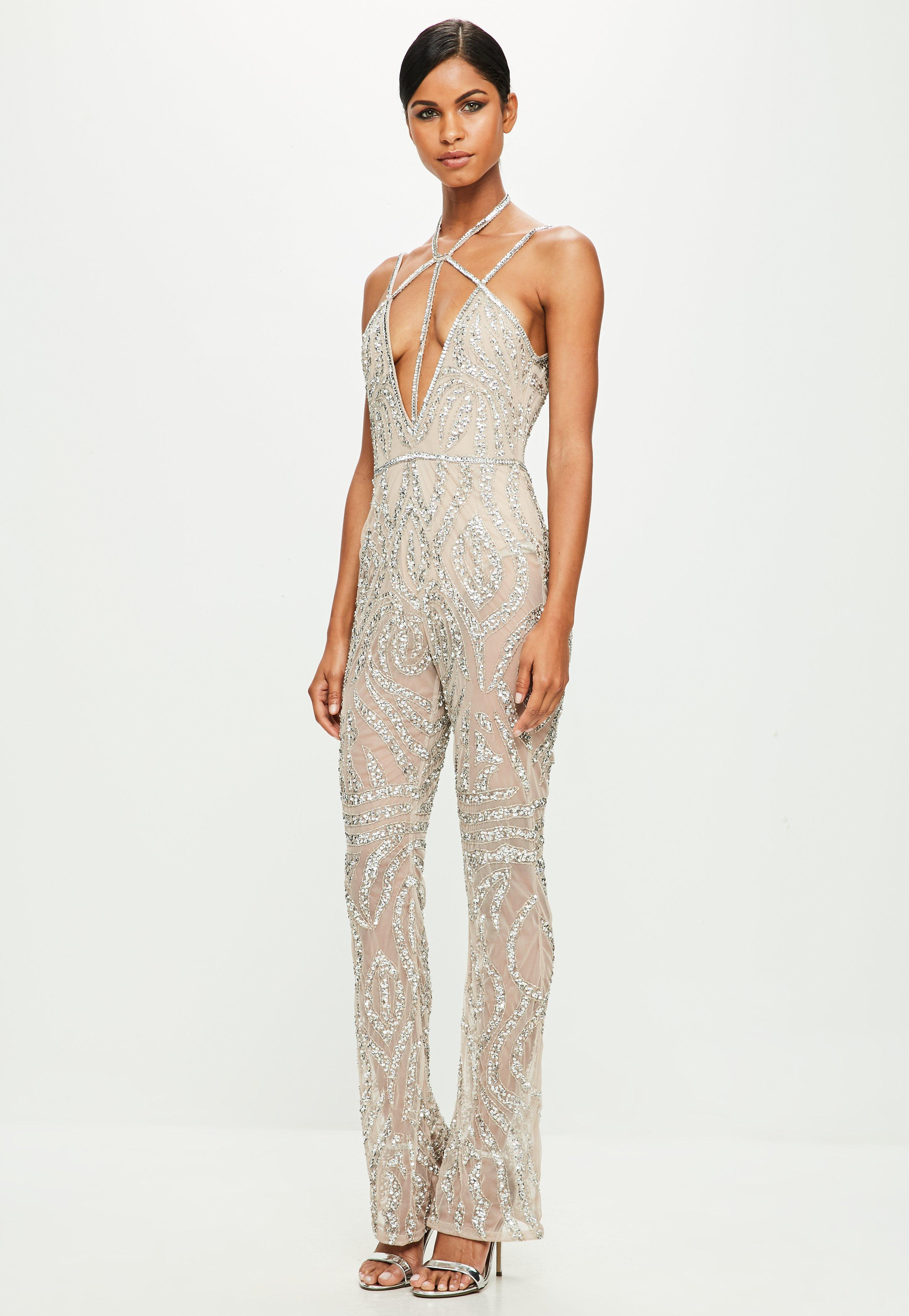 0ab582819a08 Missguided Peace + Love Nude Strappy Embellished Wide Leg Jumpsuit ...