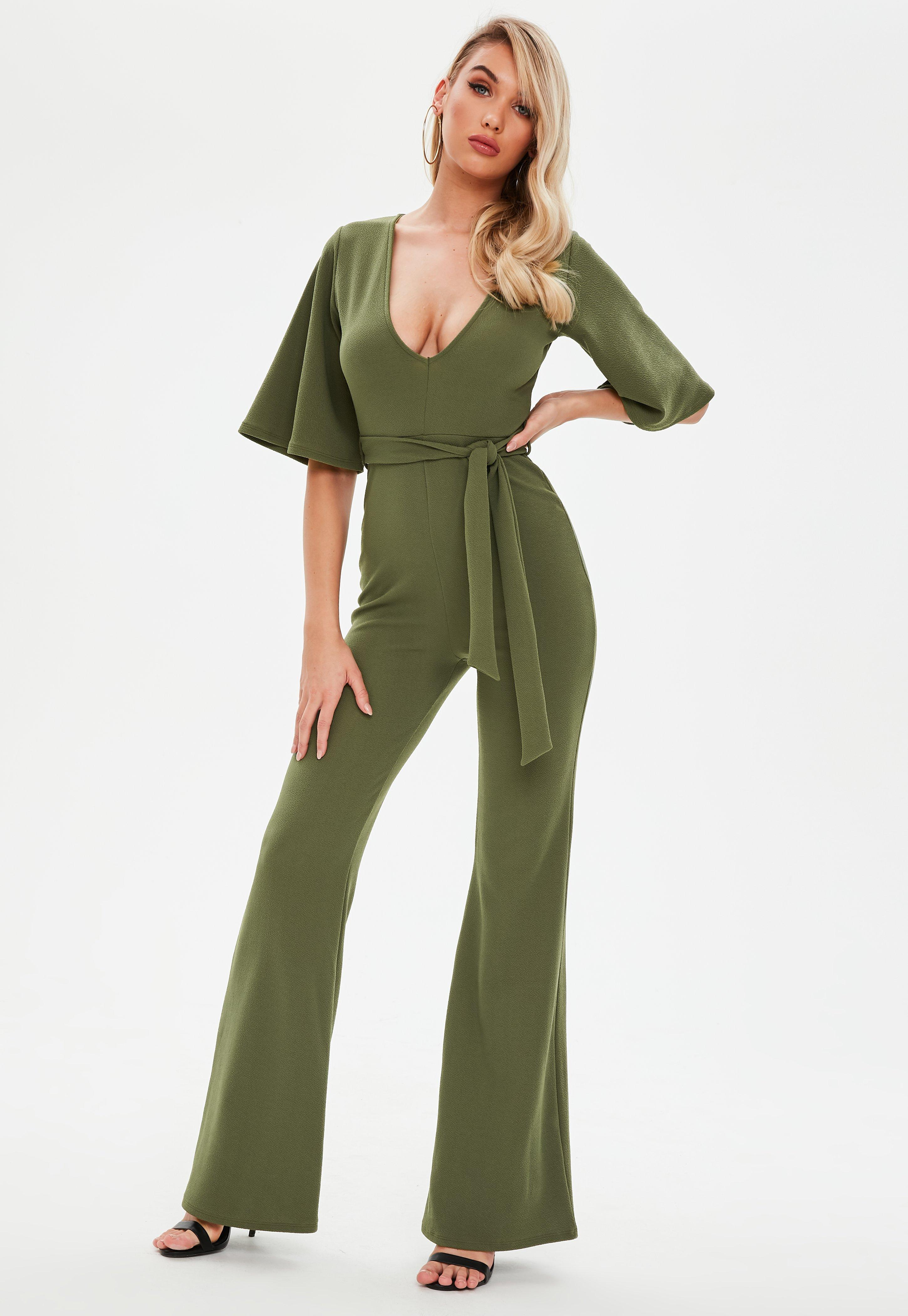 ff5d8ae734b Missguided Khaki Plunge Kimono Sleeve Jumpsuit in Green - Lyst